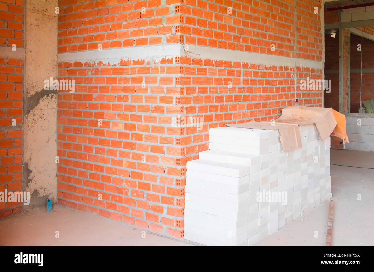 Adding Brick Wall Interior Wall Made Brick Construction Site Interior Room In Building With