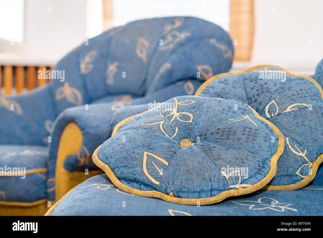 Retro Cushions Closeup Of Empty Old Antique Retro Vintage Blue Couch Sofa With