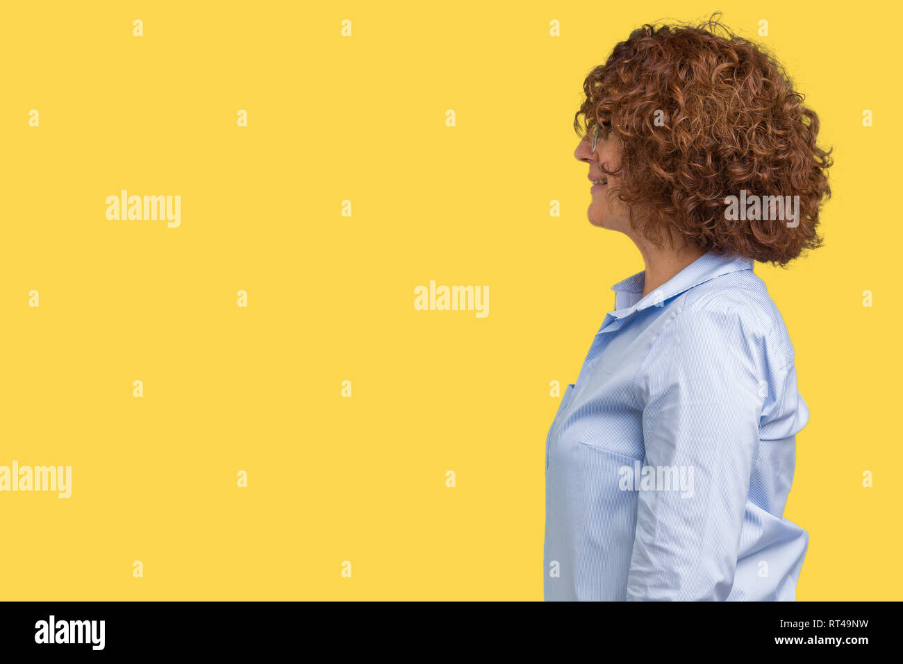 Relax Fh Rt Woman Profile Face Curly Stock Photos Woman Profile Face Curly
