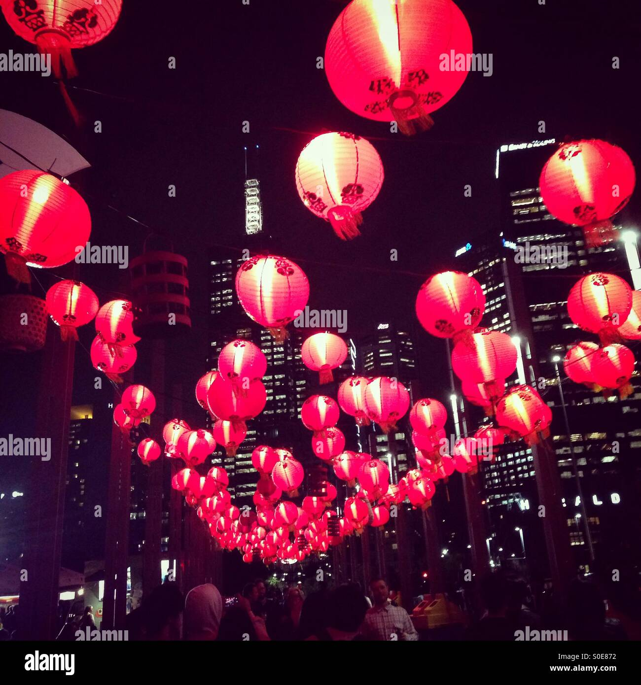 Paper Lanterns Melbourne Red Lanterns At Night Noodle Market Melbourne Australia Stock