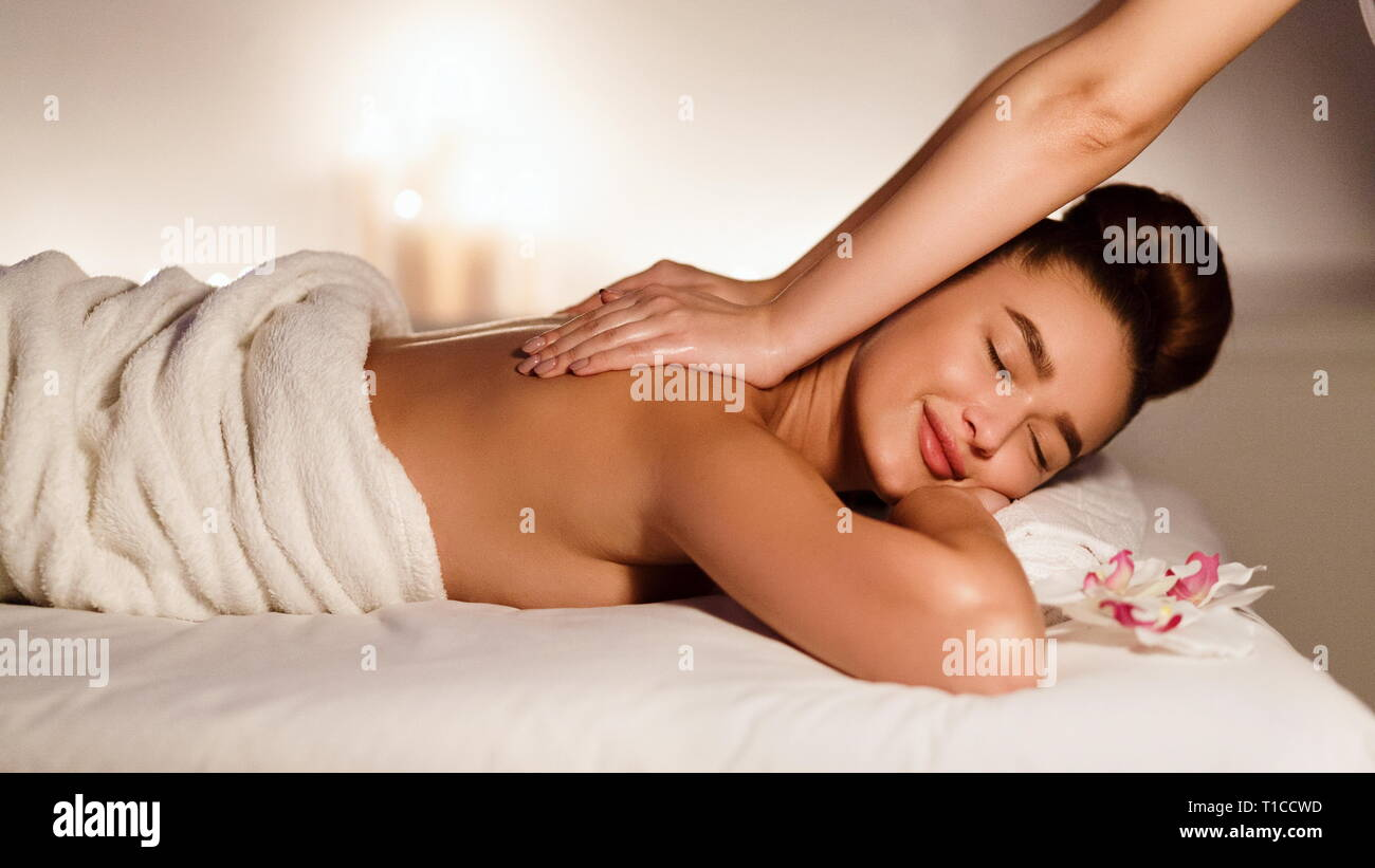 Salon Massage Body Body Masseur Doing Massage On Woman Body In Spa Salon Stock Photo