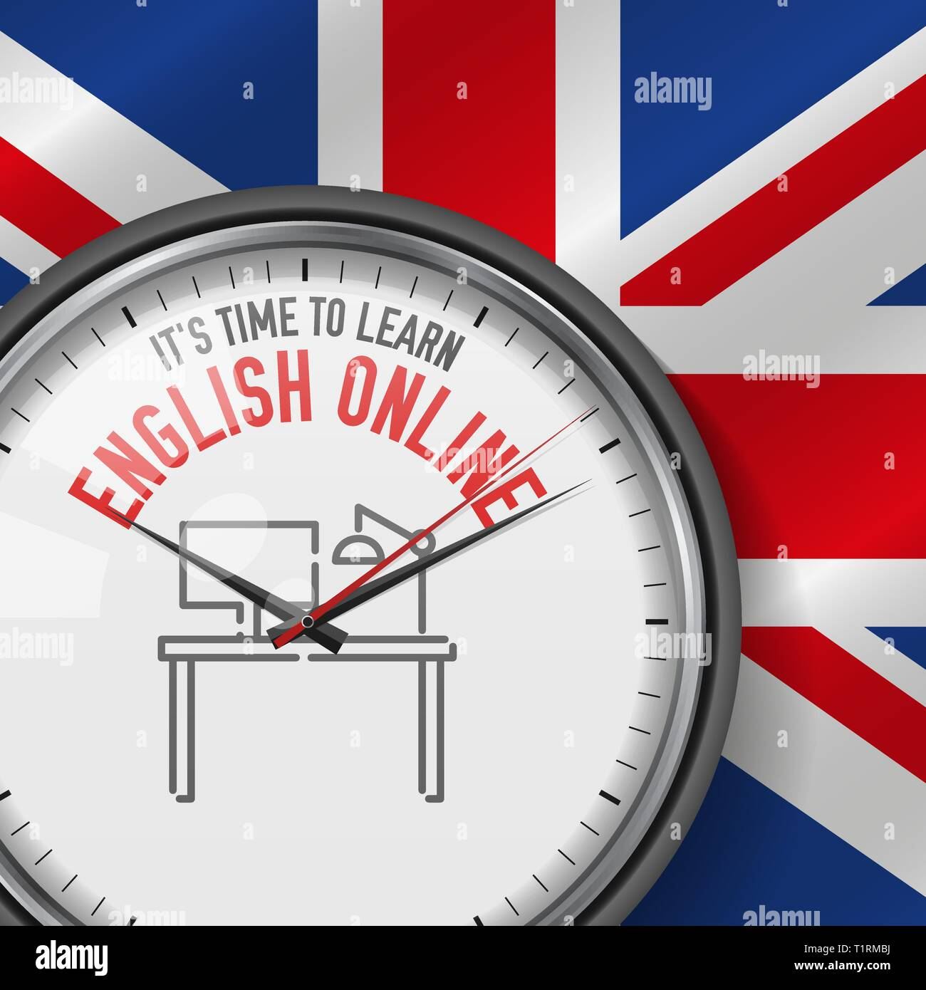 Online Analog Clock It S Time To Learn English Online White Vector Clock With
