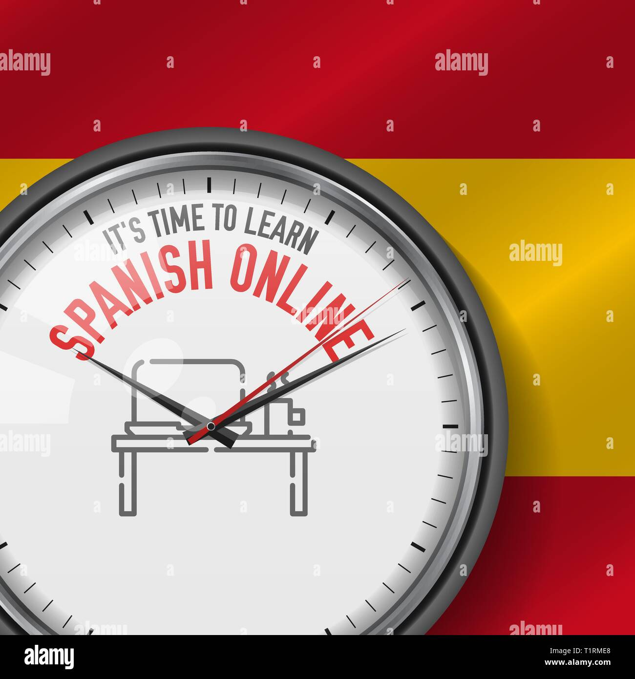 Online Analog Clock It S Time To Learn Spanish Online White Vector Clock With