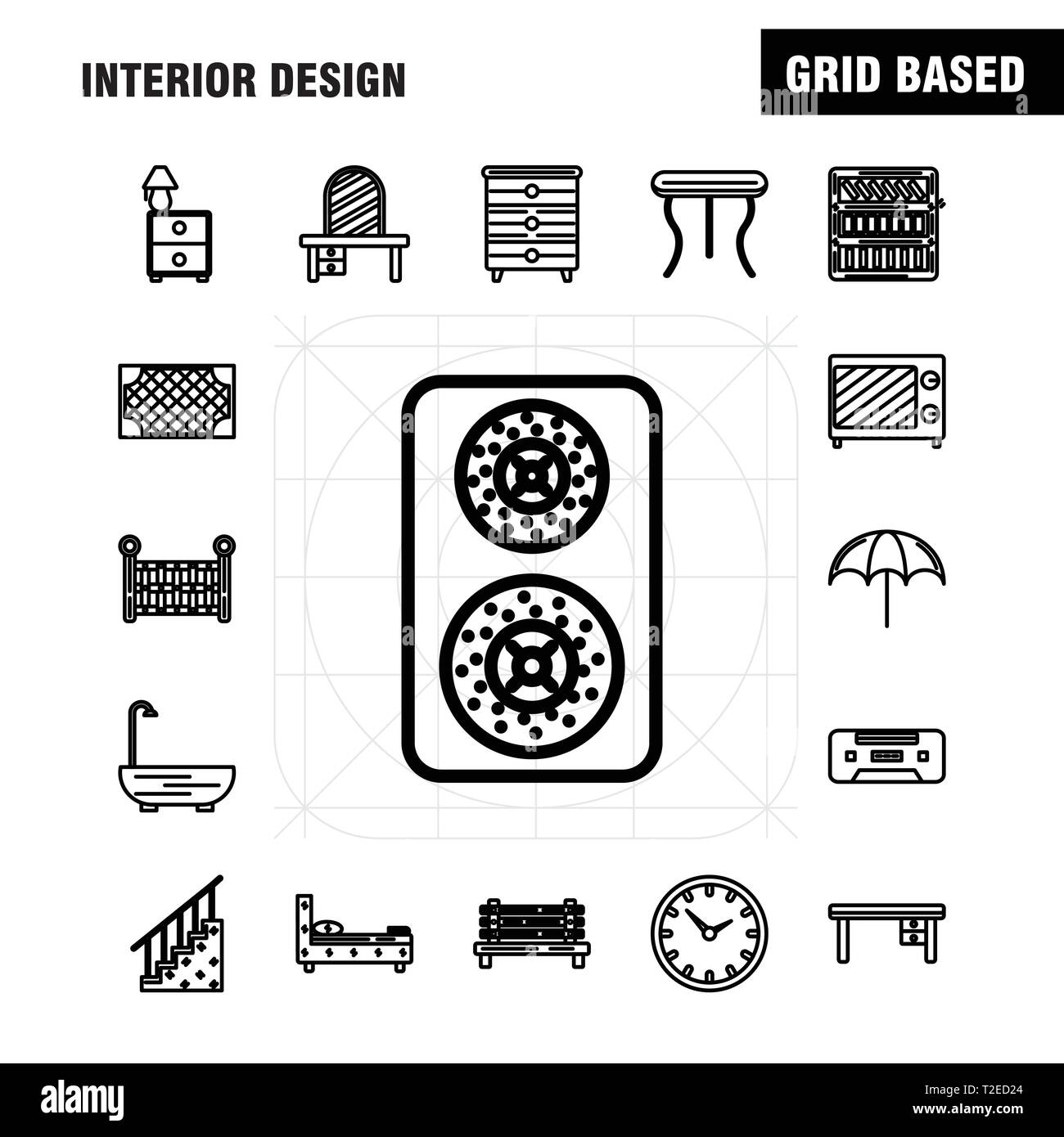 Ux Plug Interior Design Line Icons Set For Infographics Mobile Ux Ui Kit
