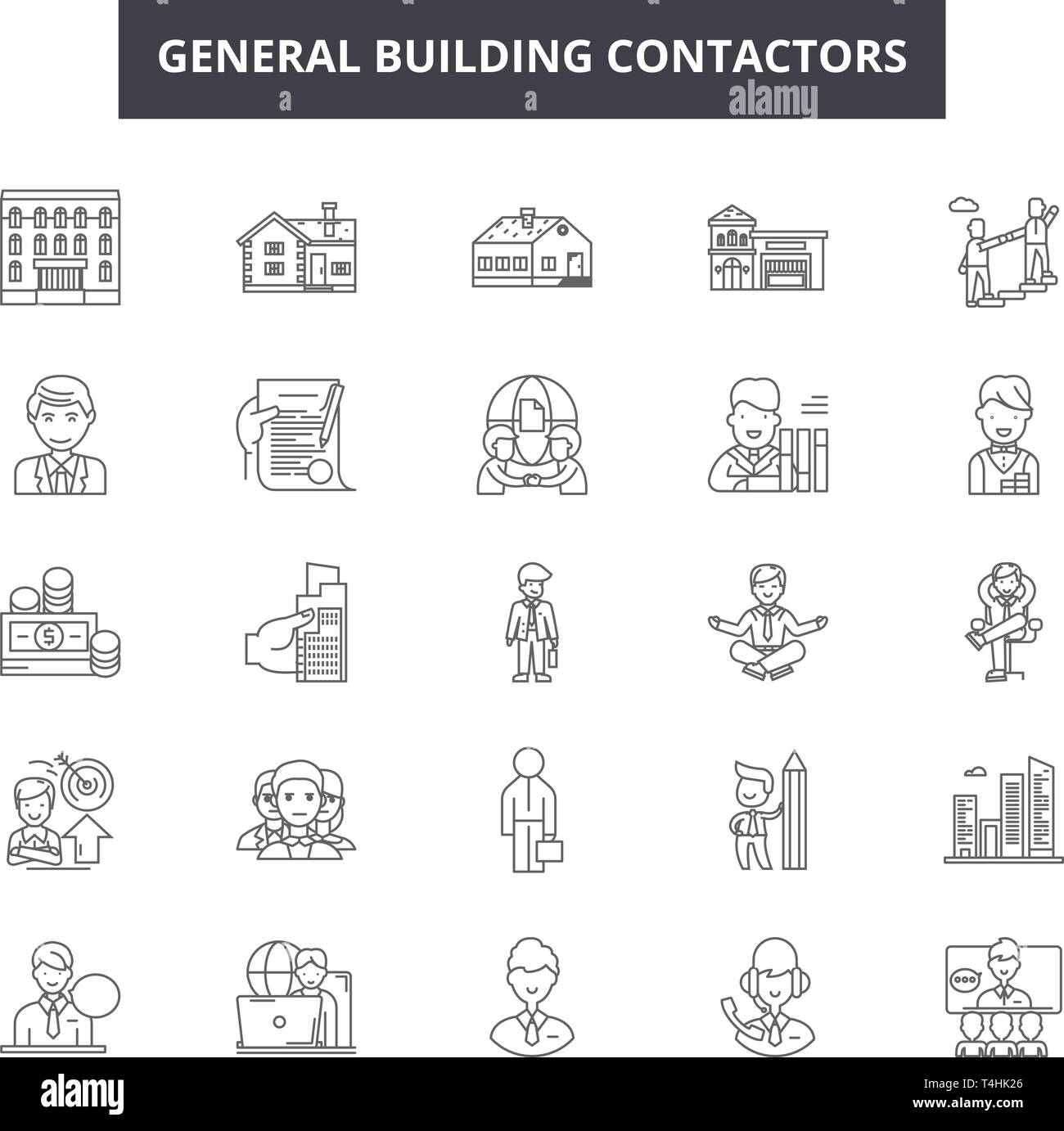 General Building Contractors Line Icons Signs Set Vector General Building Contractors Outline Concept Illustration Building Construction Contracto Stock Vector Image Art Alamy