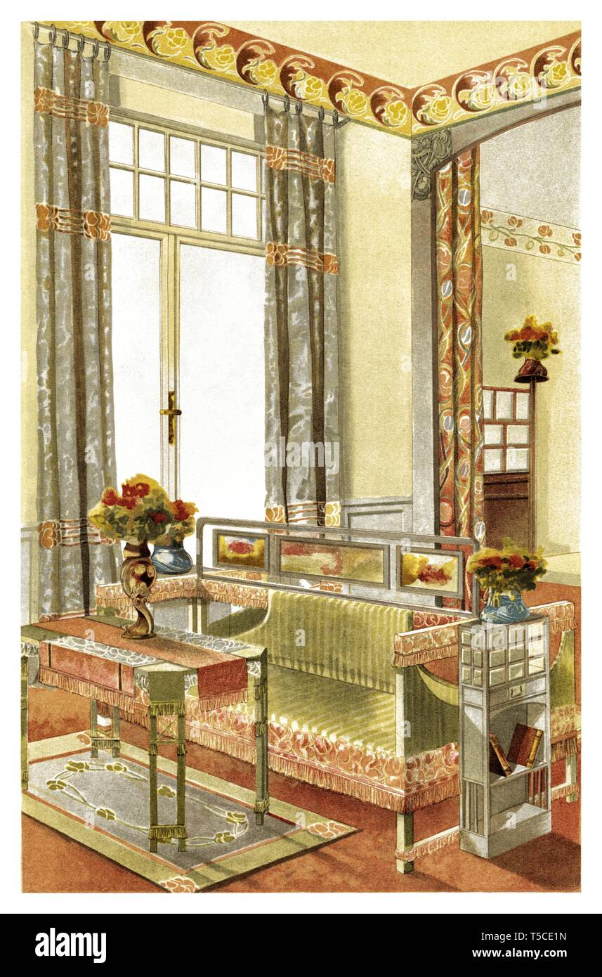 Décoration Art Nouveau Niche Decoration Art Nouveau Vintage Illustration By Modern