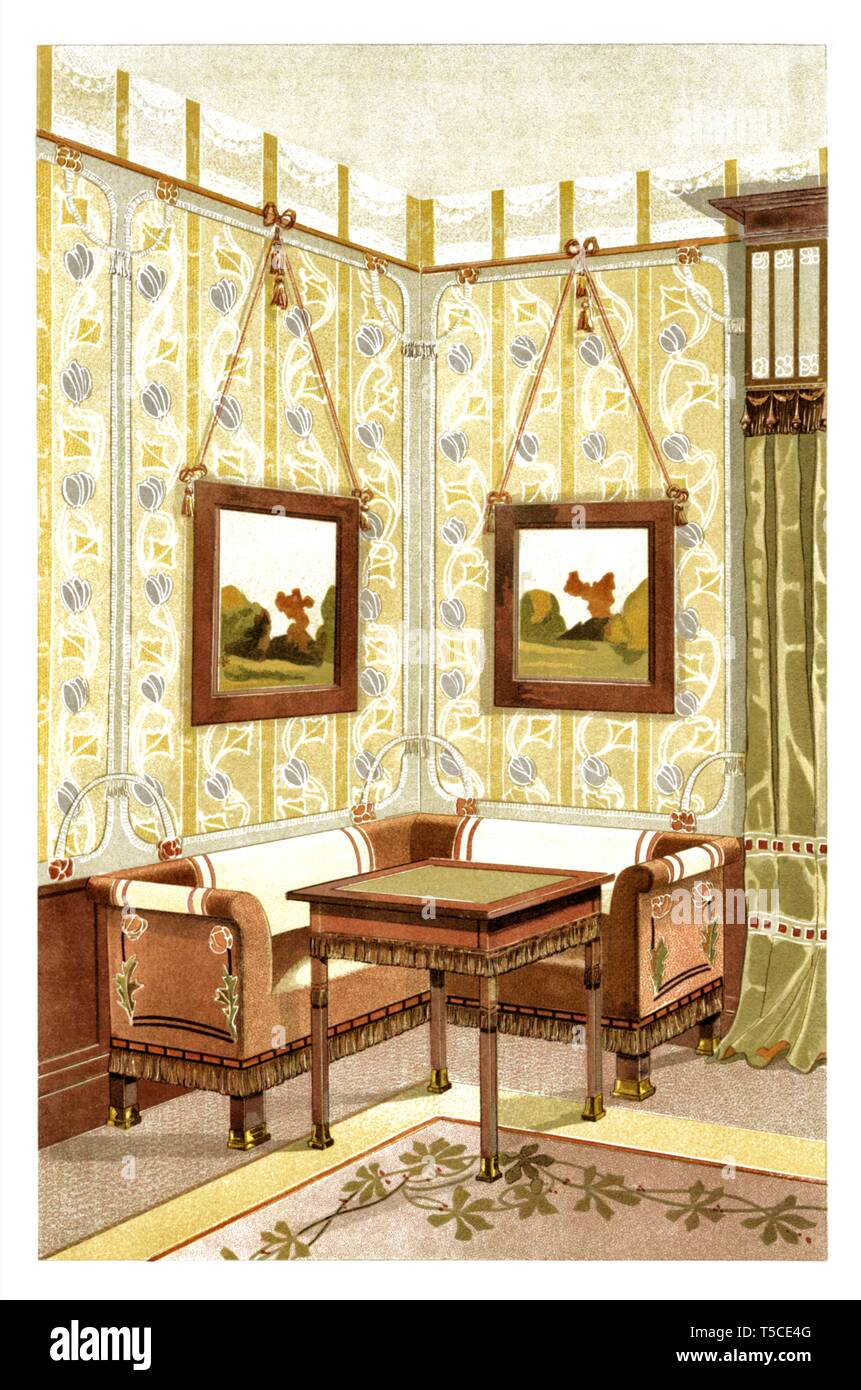 Décoration Art Nouveau Interior Decoration Art Nouveau Vintage Illustration By Modern