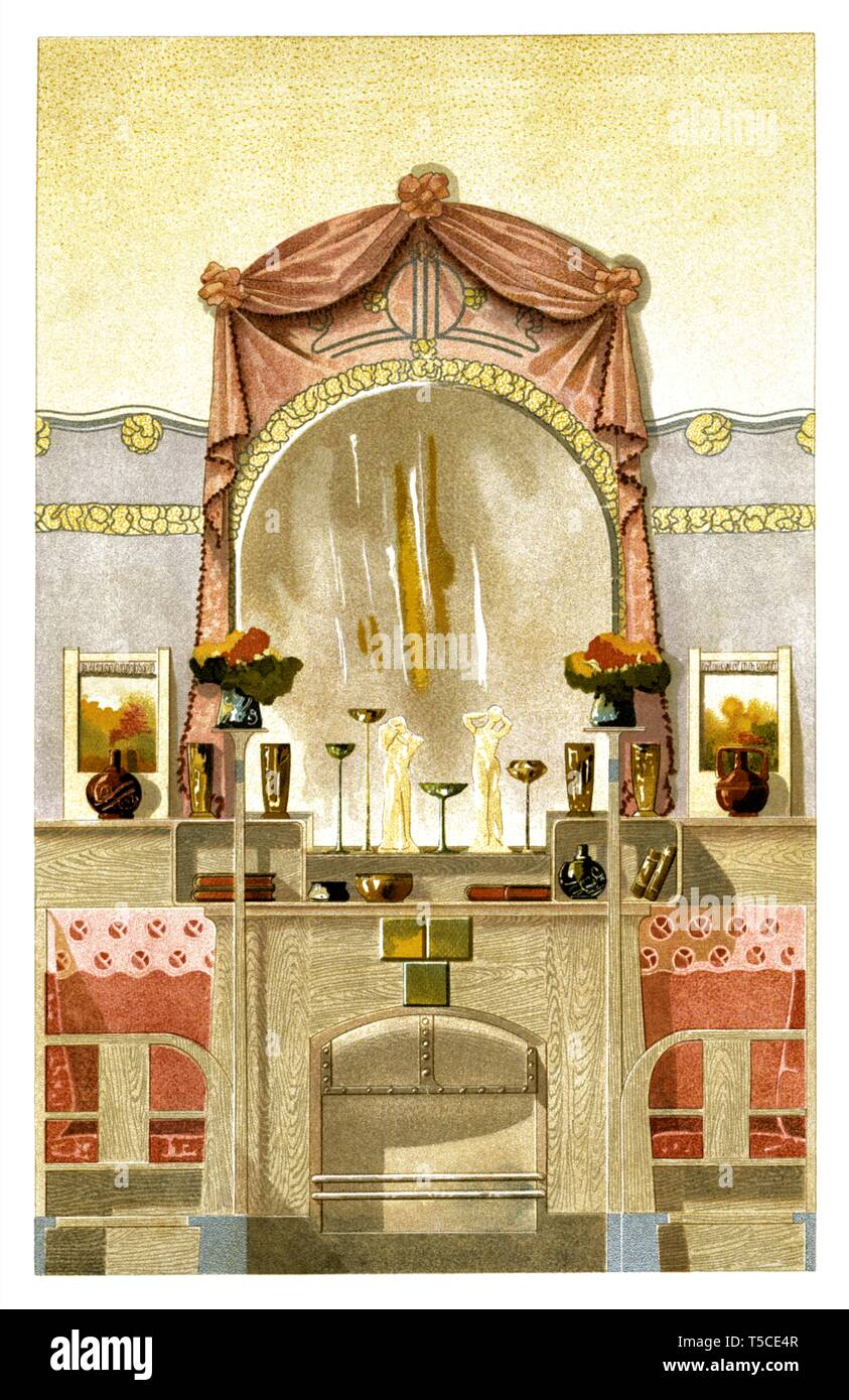 Décoration Art Nouveau Chimney Decoration Art Nouveau Vintage Illustration By Modern