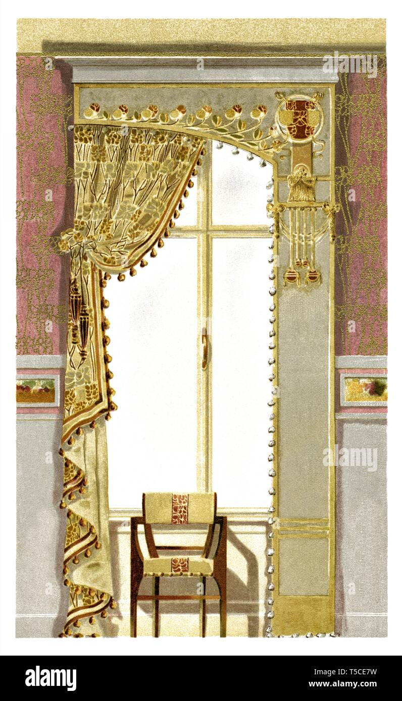 Decoration Of Window For Lounge Art Nouveau Vintage Illustration By Modern Drapery 1900 Stock Photo Alamy