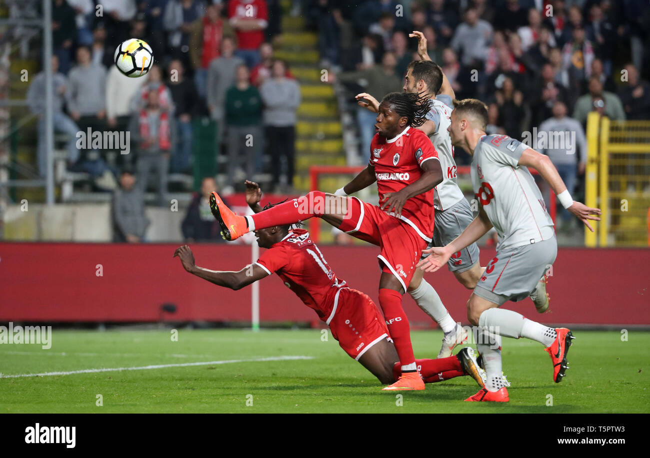 Antwerp Belgium April 26 Amara Baby Of Antwerp Dieumerci Mbokani Of Antwerp And Milos Kosanovic Of Standard Fight For The Ball During The Jupiler Pro League Play Off 1 Match Day 6