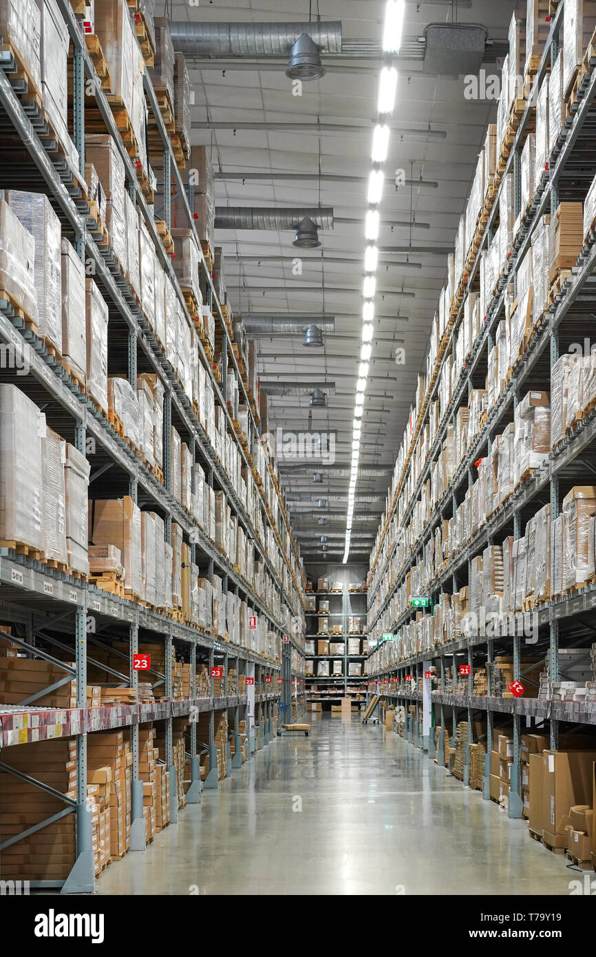 Warehouse And Distribution Center With A Lot Of Stock Promptly Furniture Home Decoration On Shelf Stock Photo Alamy