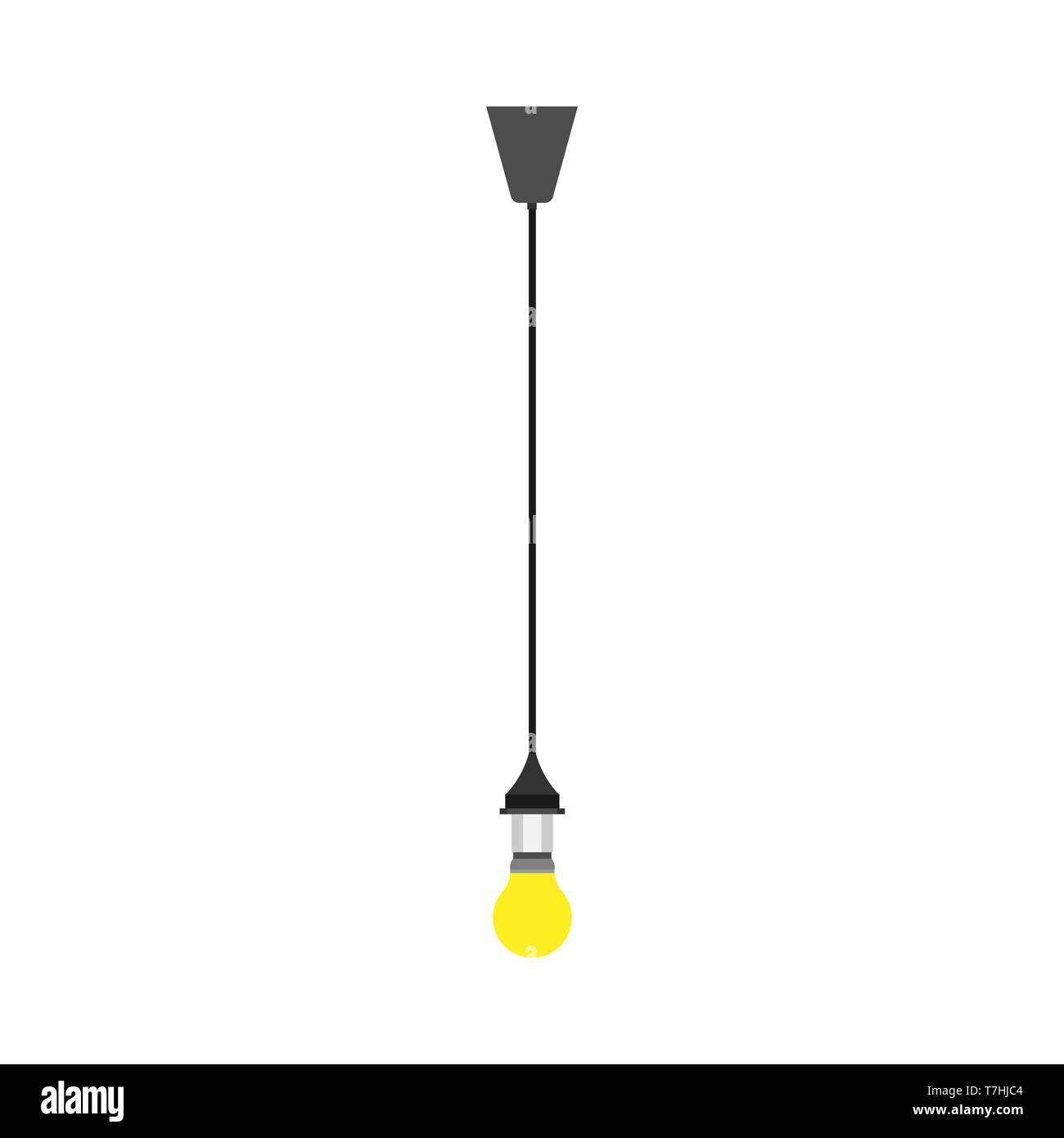 Glass Lamp Vector Lightbulb Yellow Hanging Vector Icon Illumination Light