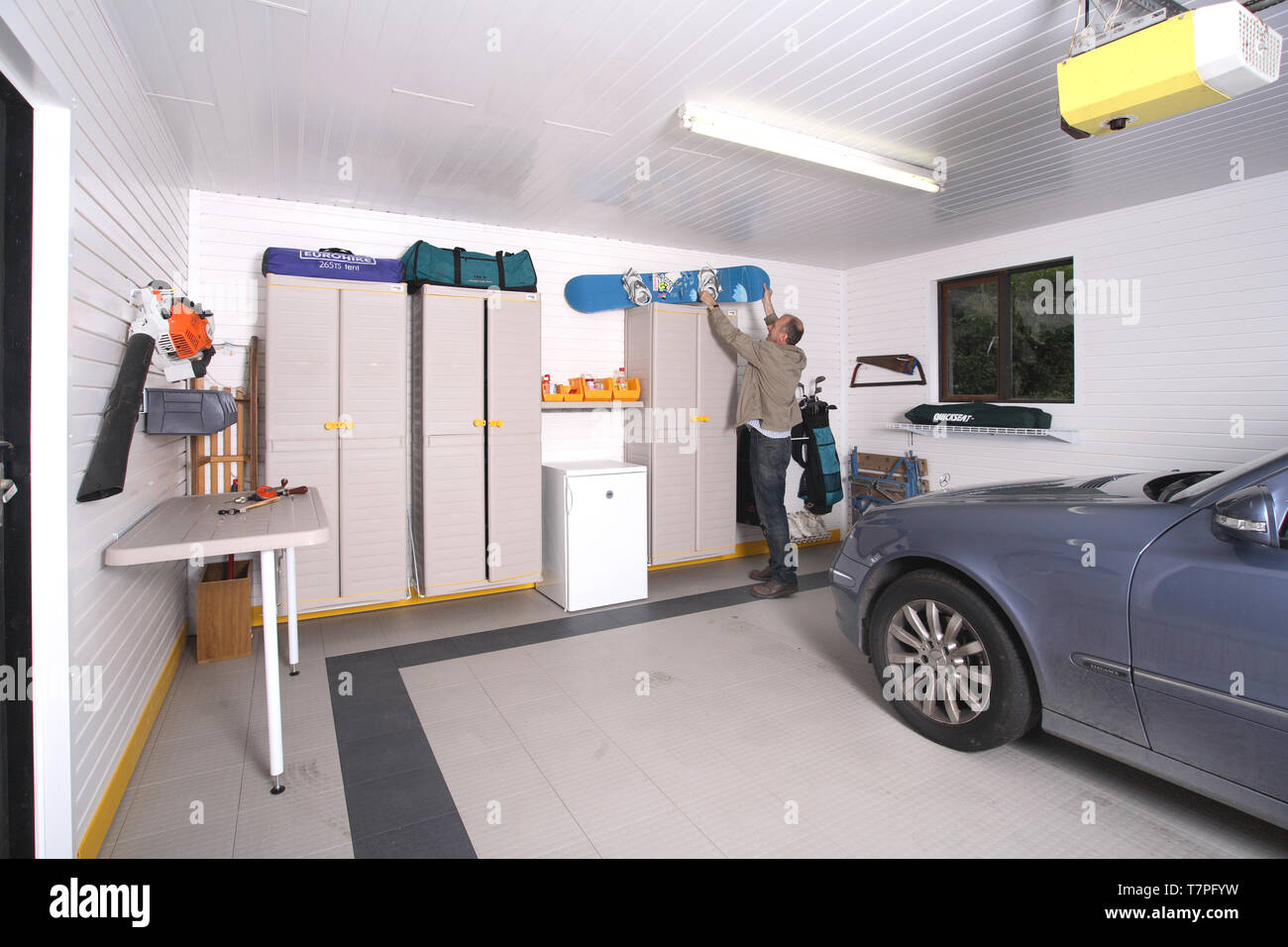 Domestic Garage Car Lift Double Car Garage Stock Photos Double Car Garage Stock Images