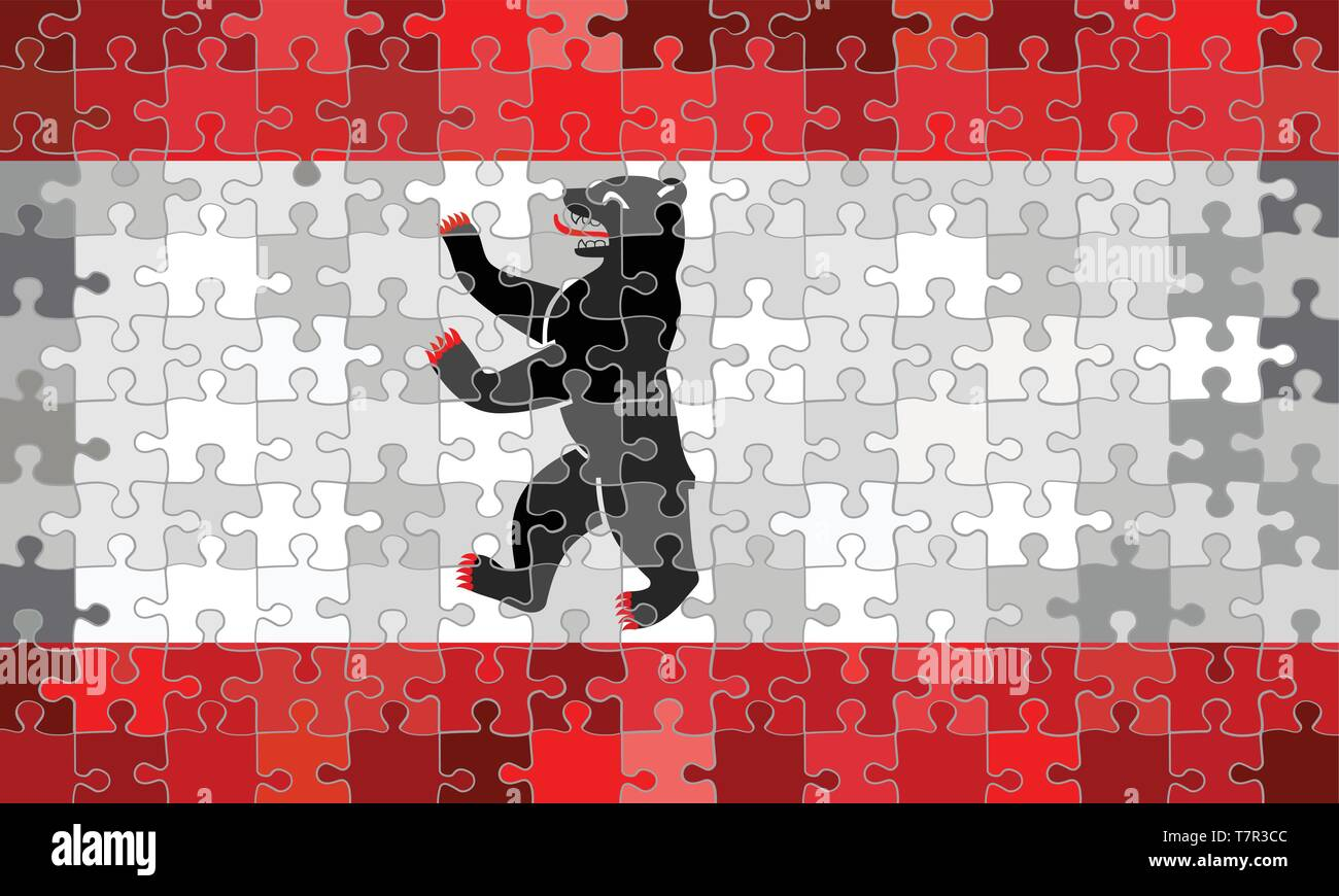 Berlin Puzzle Berlin Flag Made Of Puzzle Background Illustration Stock Vector