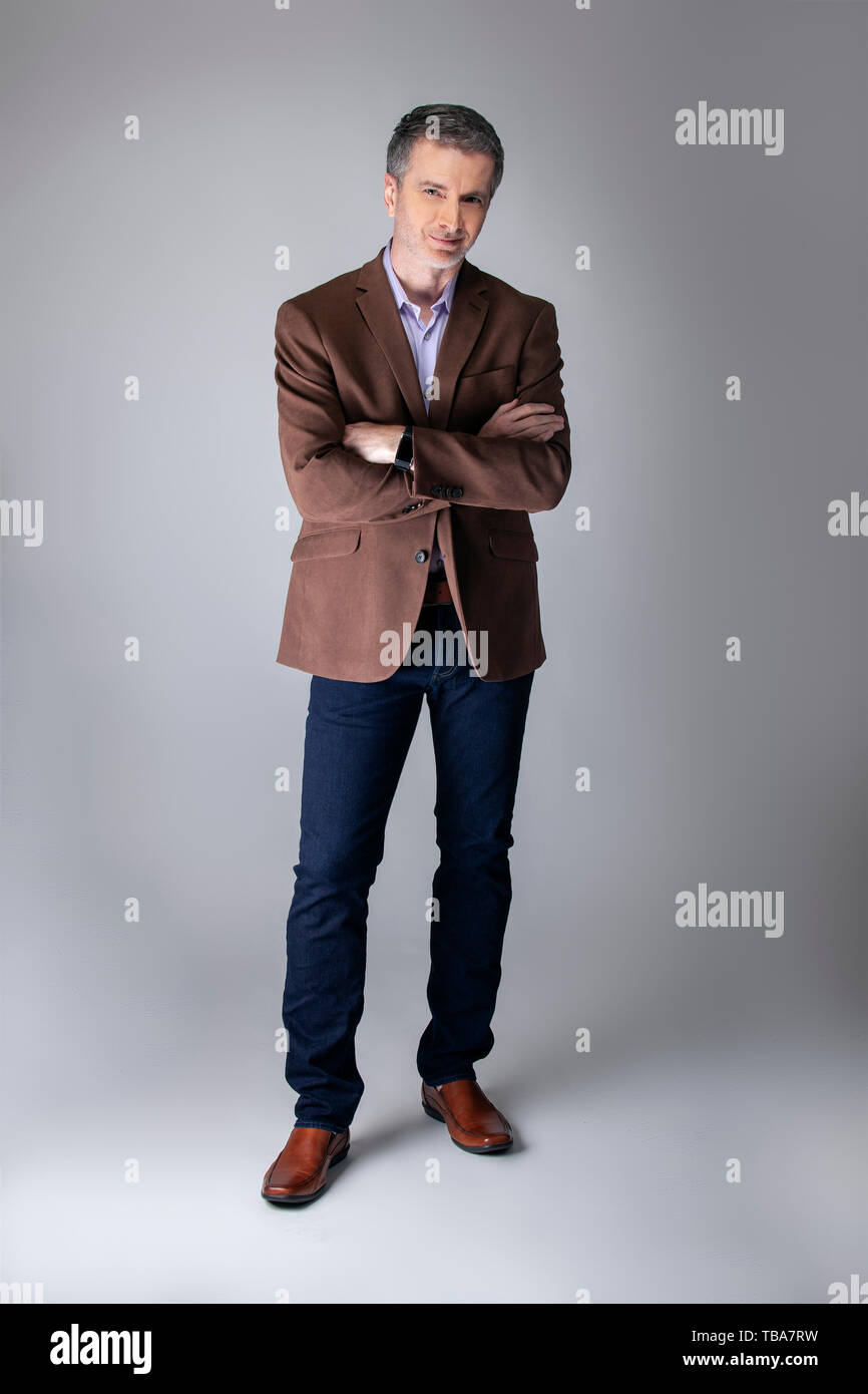 Outfit Business Casual Bearded Middle Aged Fashion Model Posing With Business