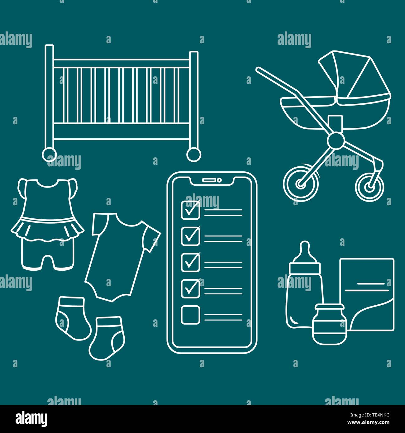 Newborn Babies Online Shopping Vector Illustration With Smartphone With Checklist Newborn