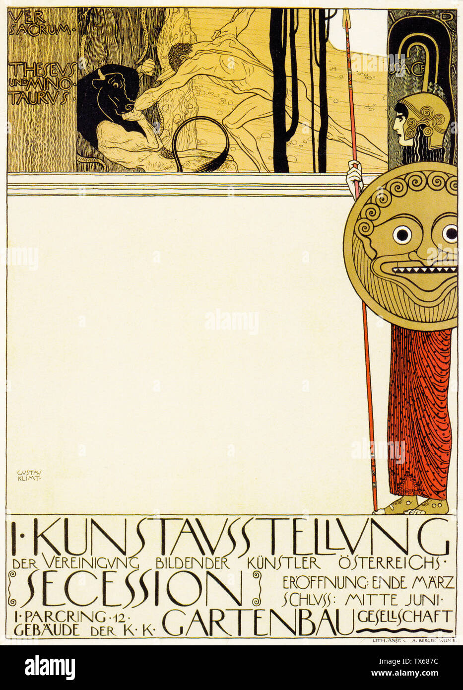 Gustav Klimt First Exhibition Poster Of The Vienna Secession Censored Version Poster 1898 Stock Photo Alamy