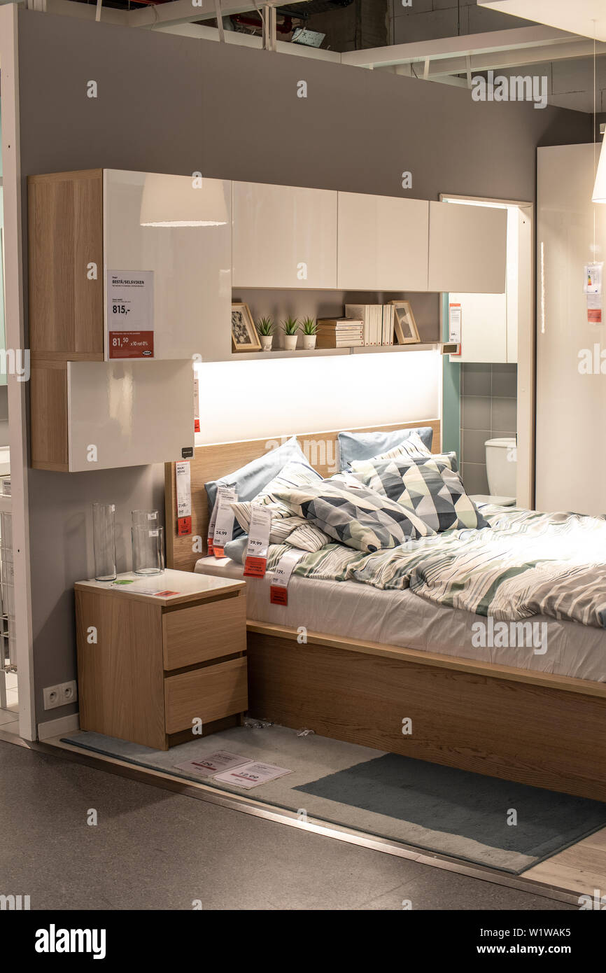 Lodz Poland Jan 2019 Exhibition Interior Ikea Store Modern Bedroom Ikea Designs Sells Ready To Assemble Furniture Appliances Home Accessories Stock Photo Alamy