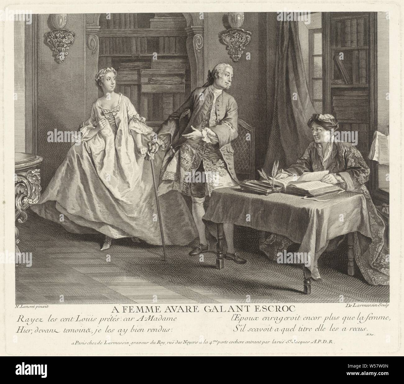 Gulphar Declares Gasparin That He Gave The Money To His Wife A Femme Avare Gallant Escroc Title On Object Stories Of Jean De La Fontaine Series Title Contes De La Fontaine Series
