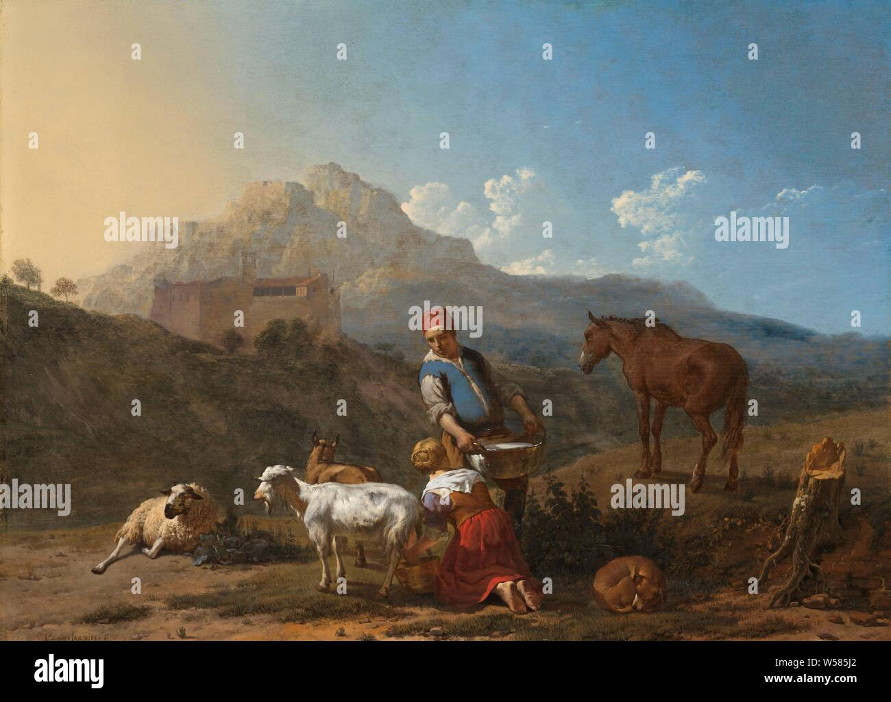 Italian Landscape With A Girl Milking A Goat Italian Landscape With A Girl Milking A Goat Italian Landscape With A Goat Milker Next To Her A Farmer Carries A Tub Filled With