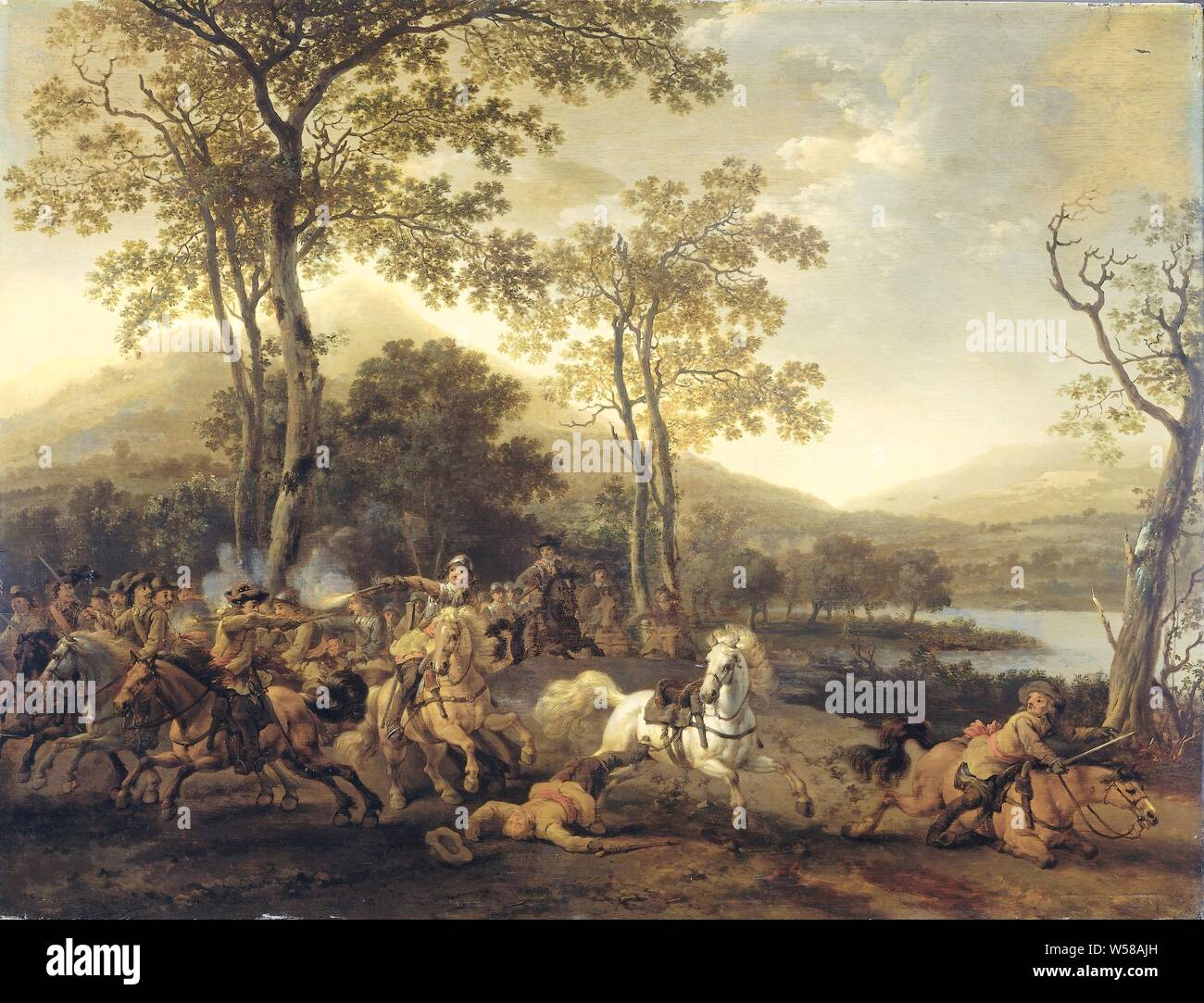 Cavalry Skirmish Landscape With A Cavalry Battle In A Hilly Landscape On The Banks Of A River Two Groups Of Horsemen Are Shooting Each Other Abraham Van Calraet 1660 1722 Panel
