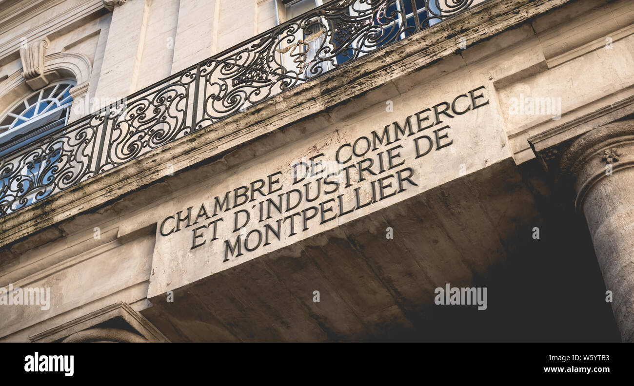 Montpellier France January 2 2019 Architecture Detail Of The Montpellier Chamber Of Commerce And Industry On A Winter Day Stock Photo Alamy
