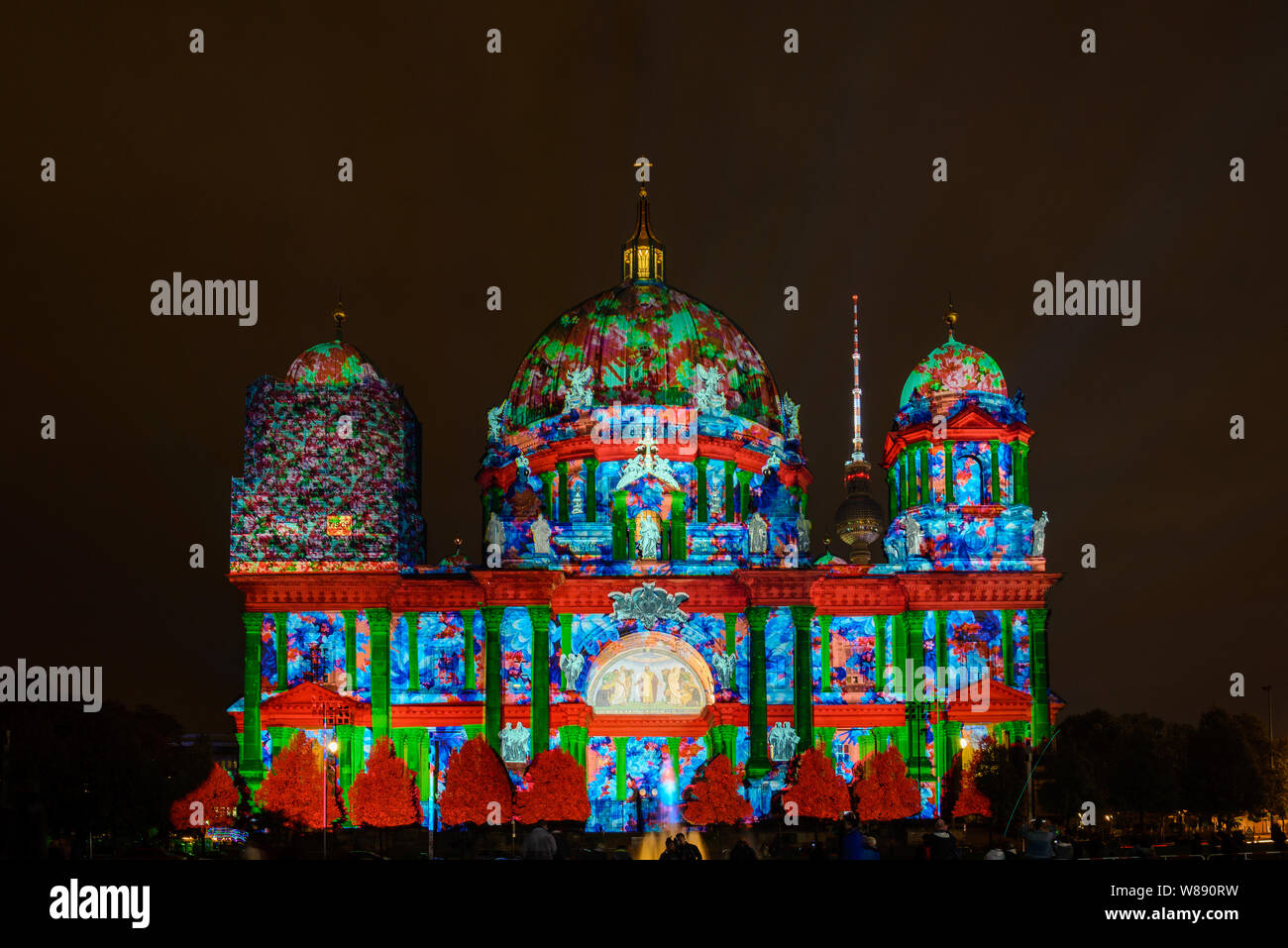 Festival Of Lights Berlin Leuchtet The Projection Mapping Lighting Art At Berliner Dom Berlin Cathedral During The Night On German Unity Day Stock Photo Alamy