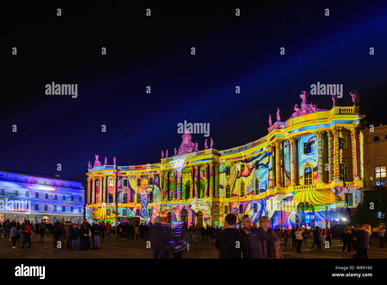 People Enjoy Event Festival Of Lights Berlin Leuchtet The Projection Mapping Lighting Art On Opera Cathedral Buildings Around Bebelplatz At Night Stock Photo Alamy