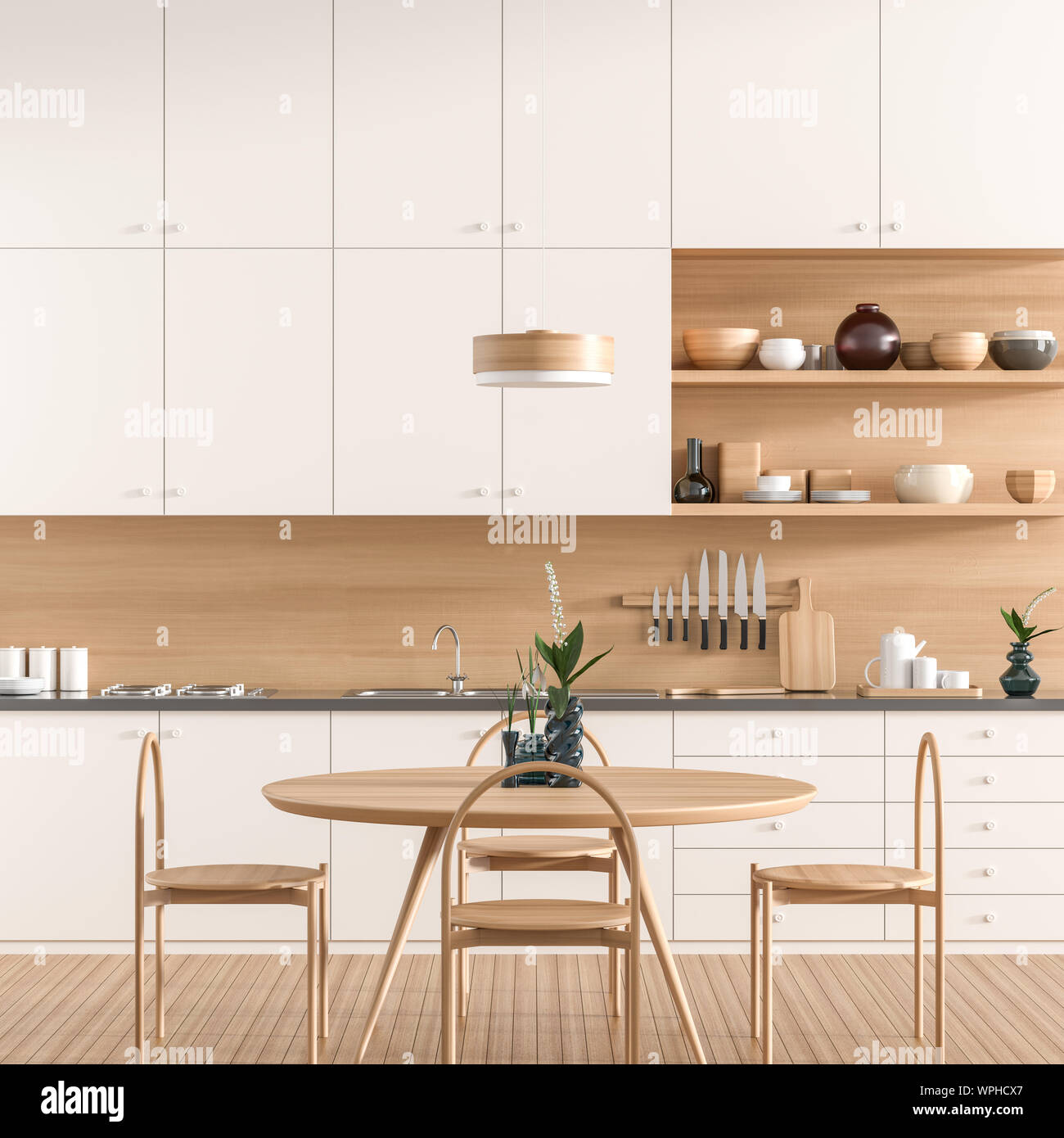 Scandinavian Style Modern Kitchen With Dining Table Modern Kitchen Design With Wooden Furnitures 3d Illustration Stock Photo Alamy