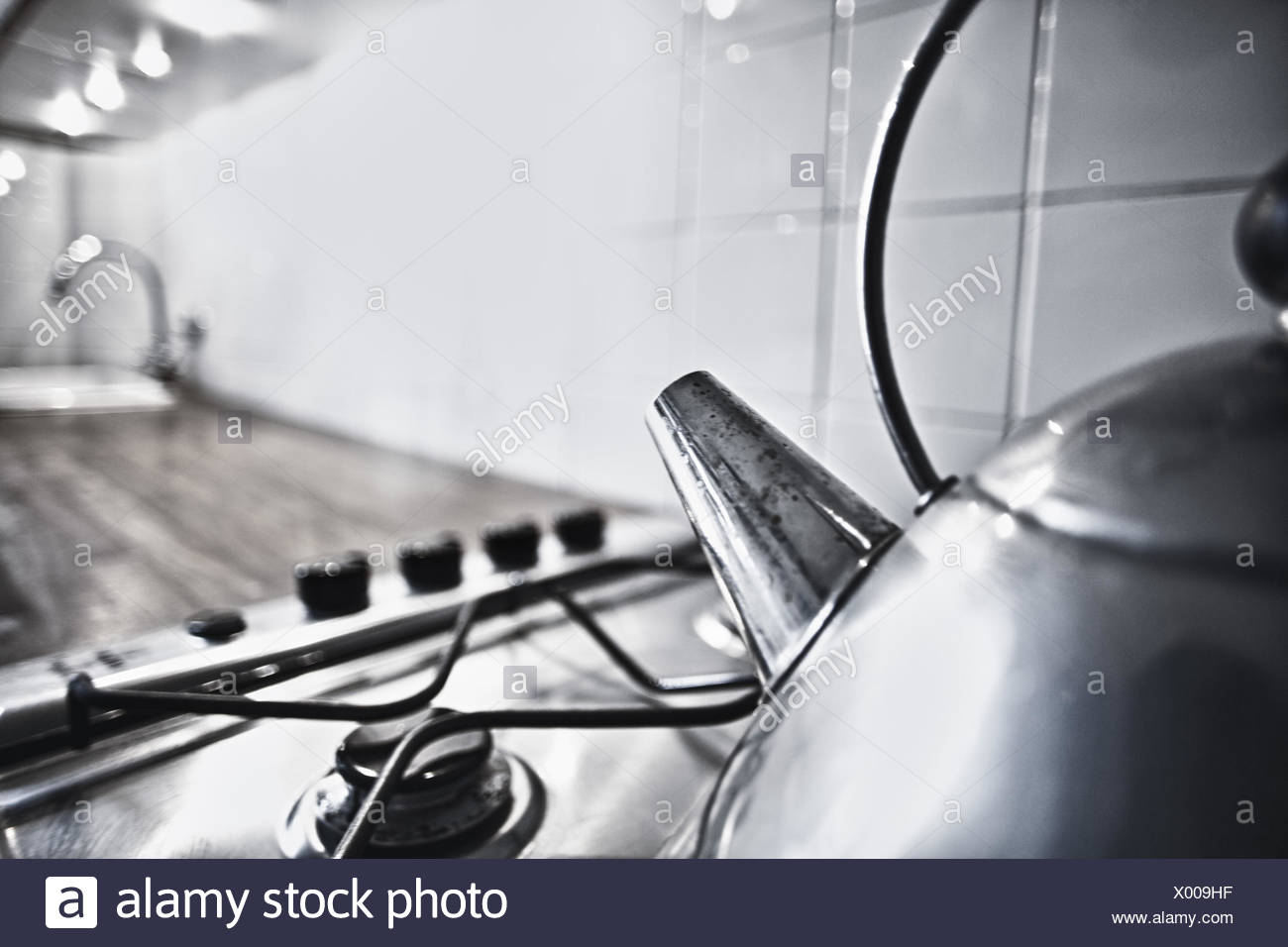 Closein Boiler Boiler On Gas Range Medium Close Up Detail Stock Photo
