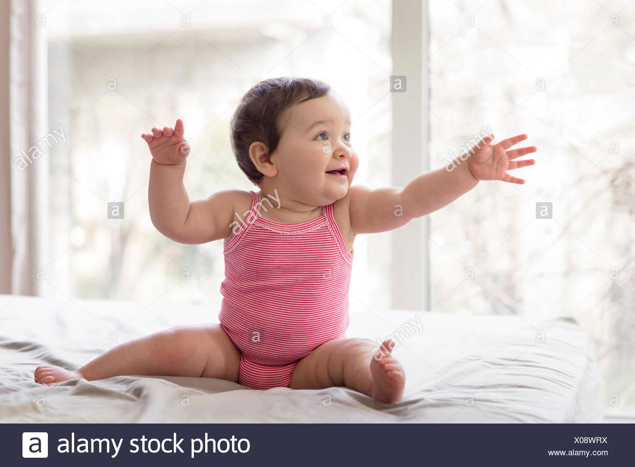 Baby Girl Reaching Out Stock Photos Baby Girl Reaching