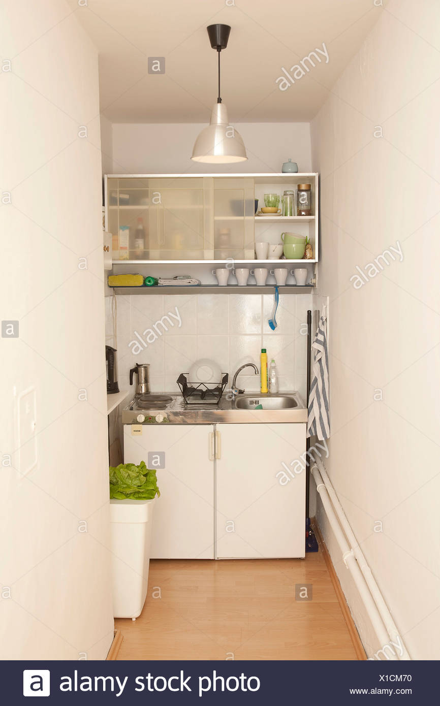 Small Narrow Kitchen Stock Photo Alamy