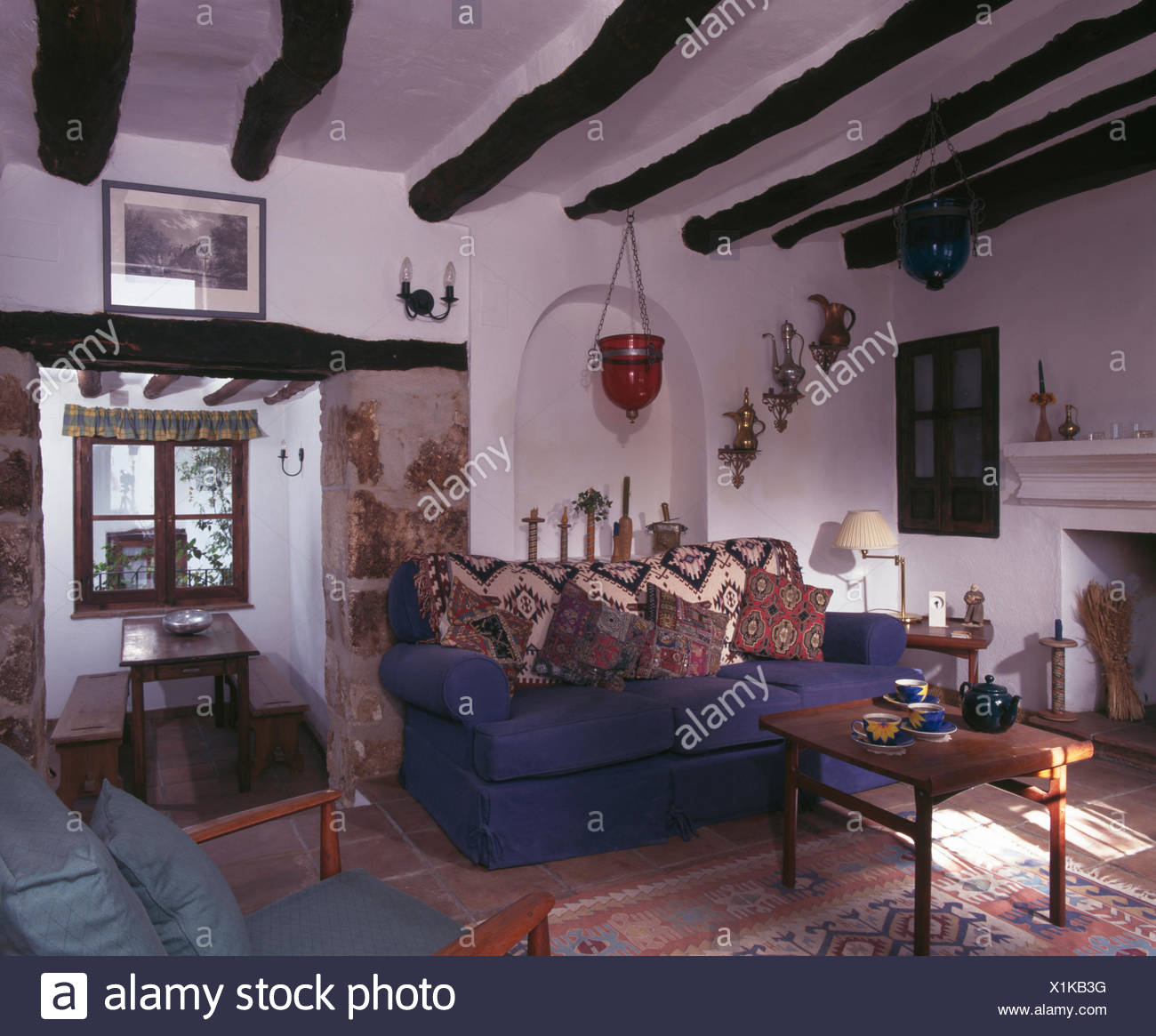 What Is Sofa In Spanish Patterned Cushions And Throw On Blue Sofa In Spanish Cottage