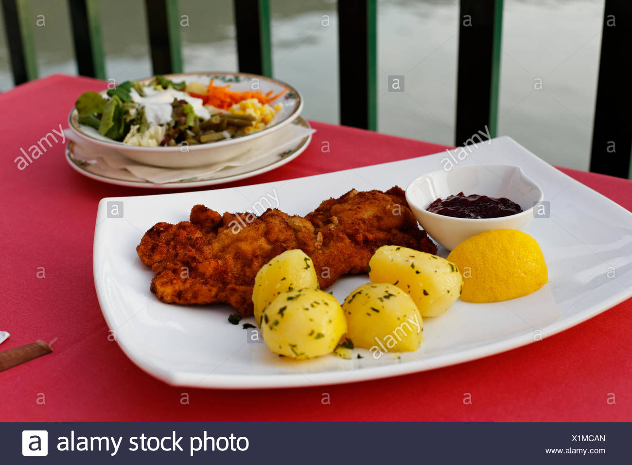 Schnitzel Restaurant Viennese Schnitzel With Potatoes And Salad Terrace Of The