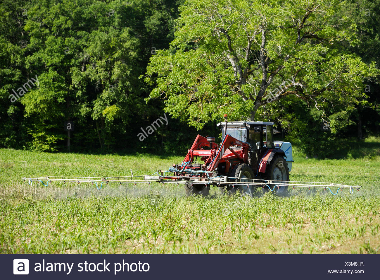 Sustainable Farmer Farmer Spraying Chemicals On Corn Fields This Farmer Uses