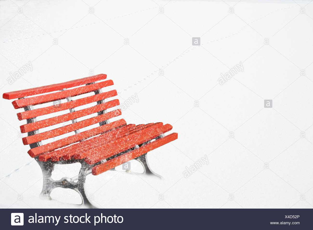 Rib Bank Red Saddle Snow Winter Bank Garden Bench Park Bench Red