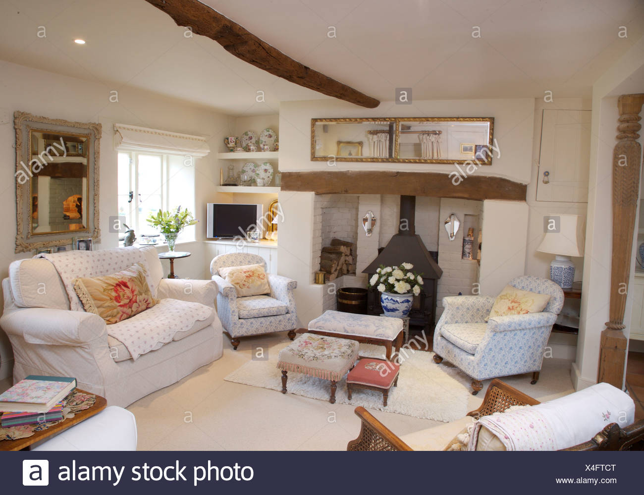 Traditional Cottage Furniture Armchair Stock Photos