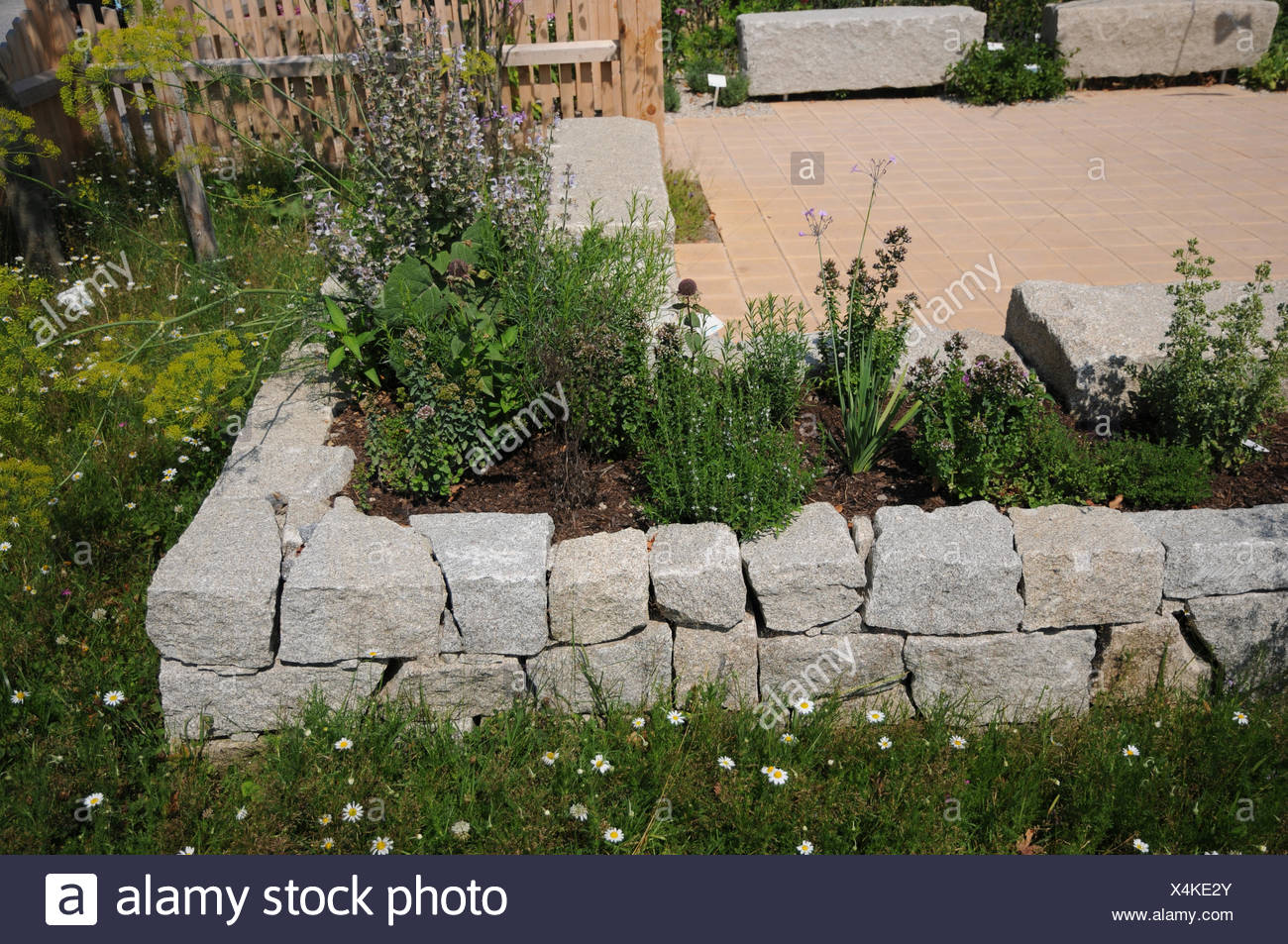 Gartengestaltung Hanglage Gabionen Raised Bed Made Of Granite Stones Stock Photo 278252659 Alamy