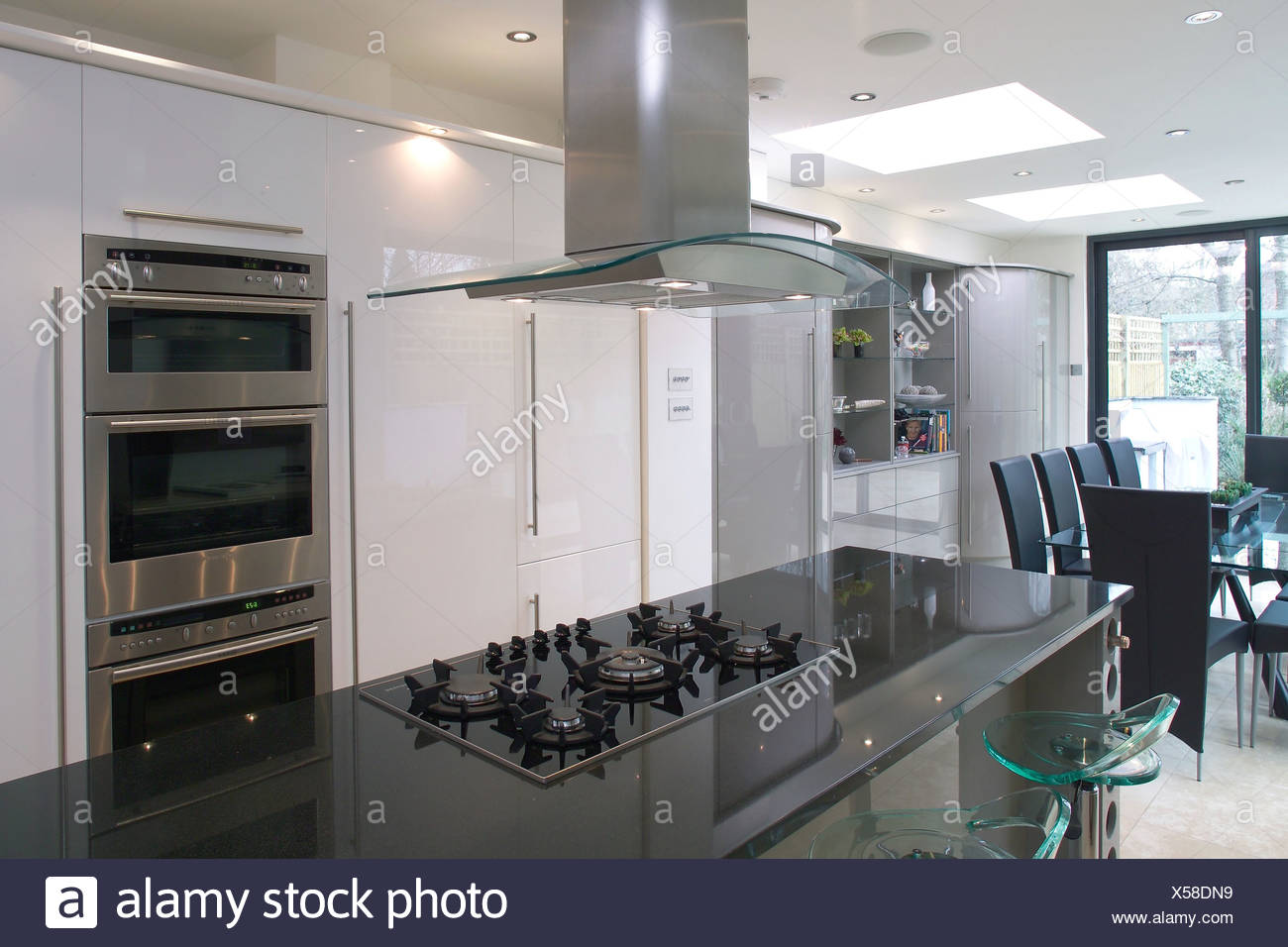 Oven In Island Unit Extractor Fan Kitchen Island Stock Photos And Extractor Fan