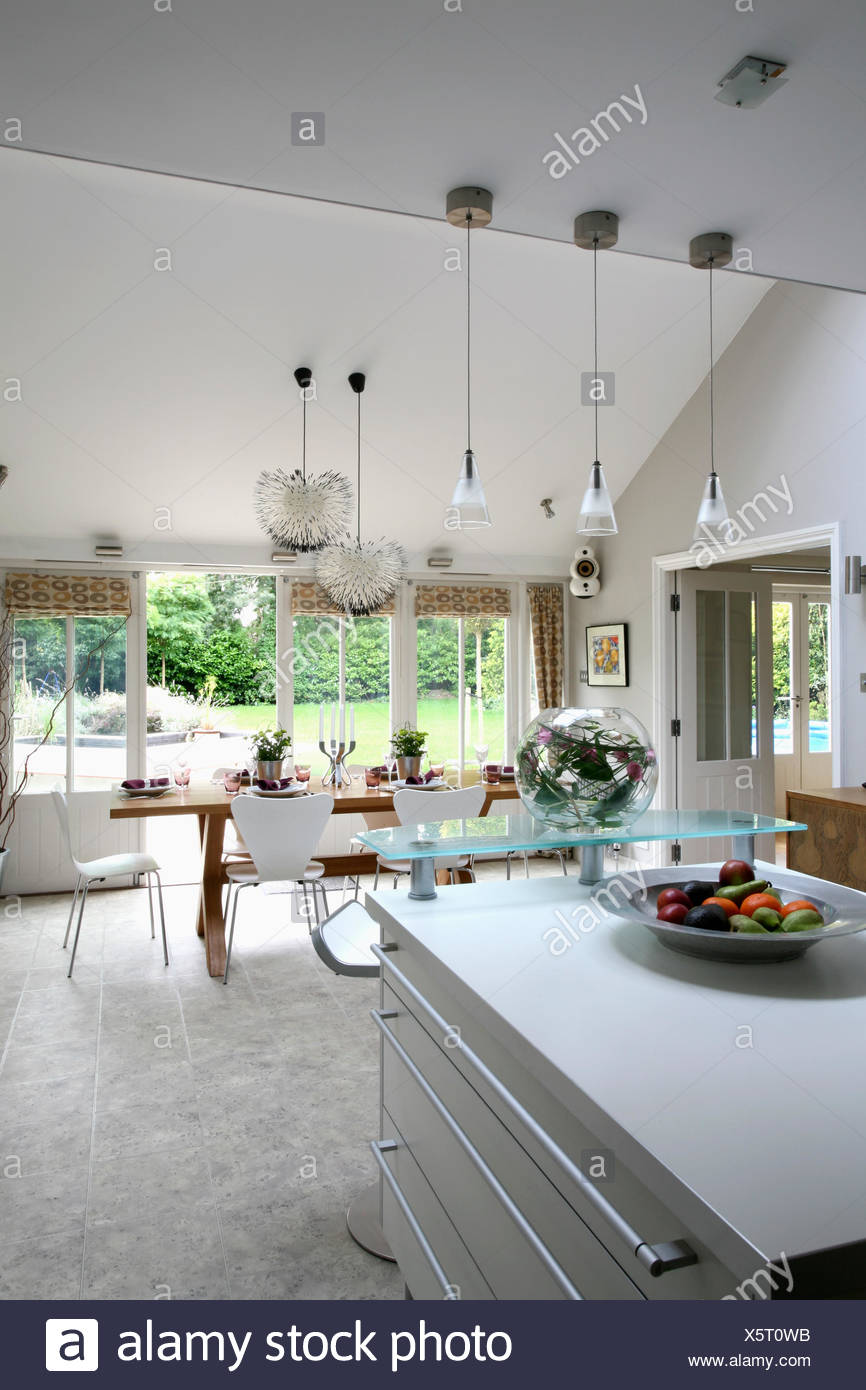 Large Modern Kitchen Island Pendant Lighting Above Island Unit In Large Modern Openplan