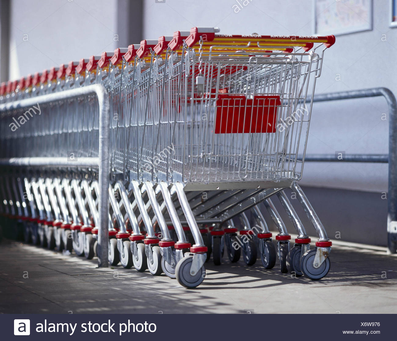 Supermarket Shopping Cart Series Detail Shopping Basket Goods Baskets Goods Carriages Shopping Baskets One After The Other Into Each Other System Conception Order Ordered Purchasing Retail Trade Outside Stock Photo Alamy