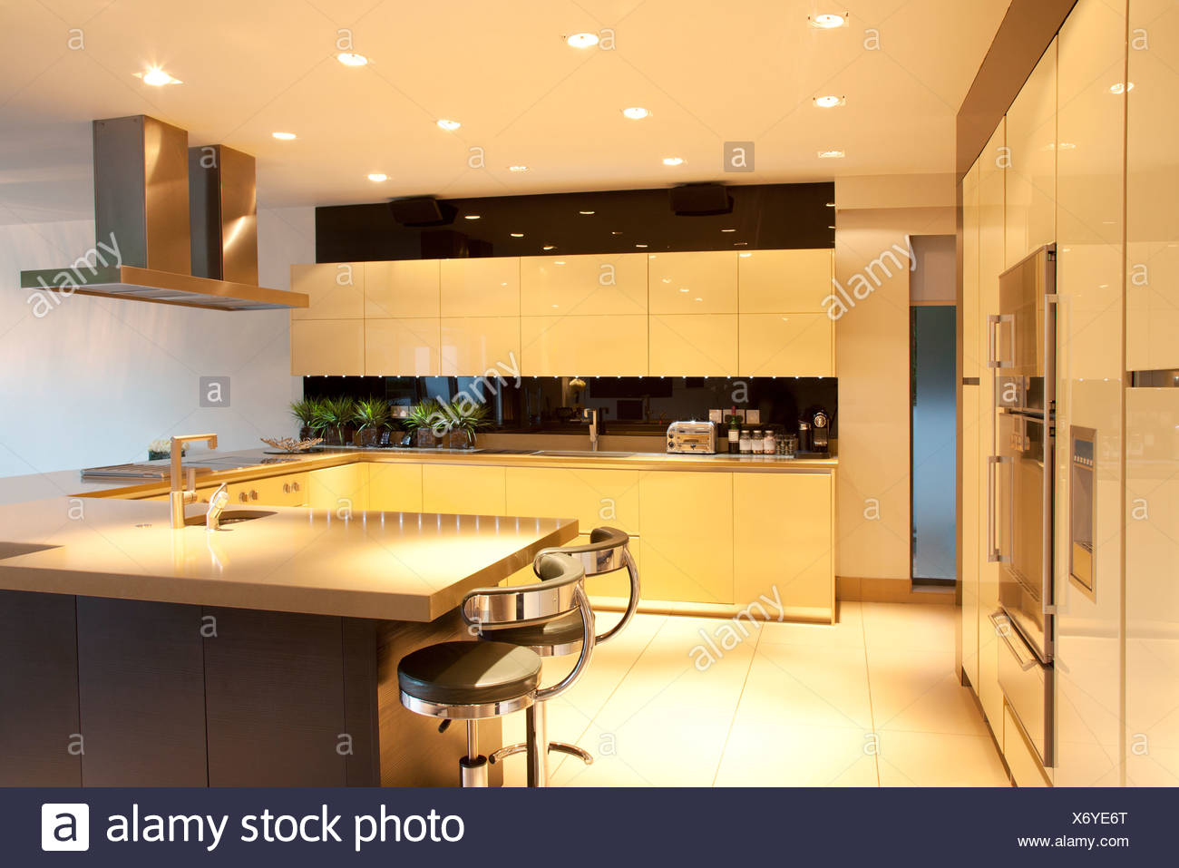Kitchen Cupboard Uplighters Contemporary Lighting Stock Photos Contemporary Lighting Stock