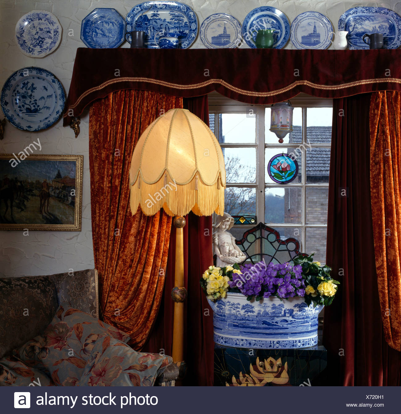 China Blue Curtains Blue White China On Wall Above Window With Red Brown Velvet
