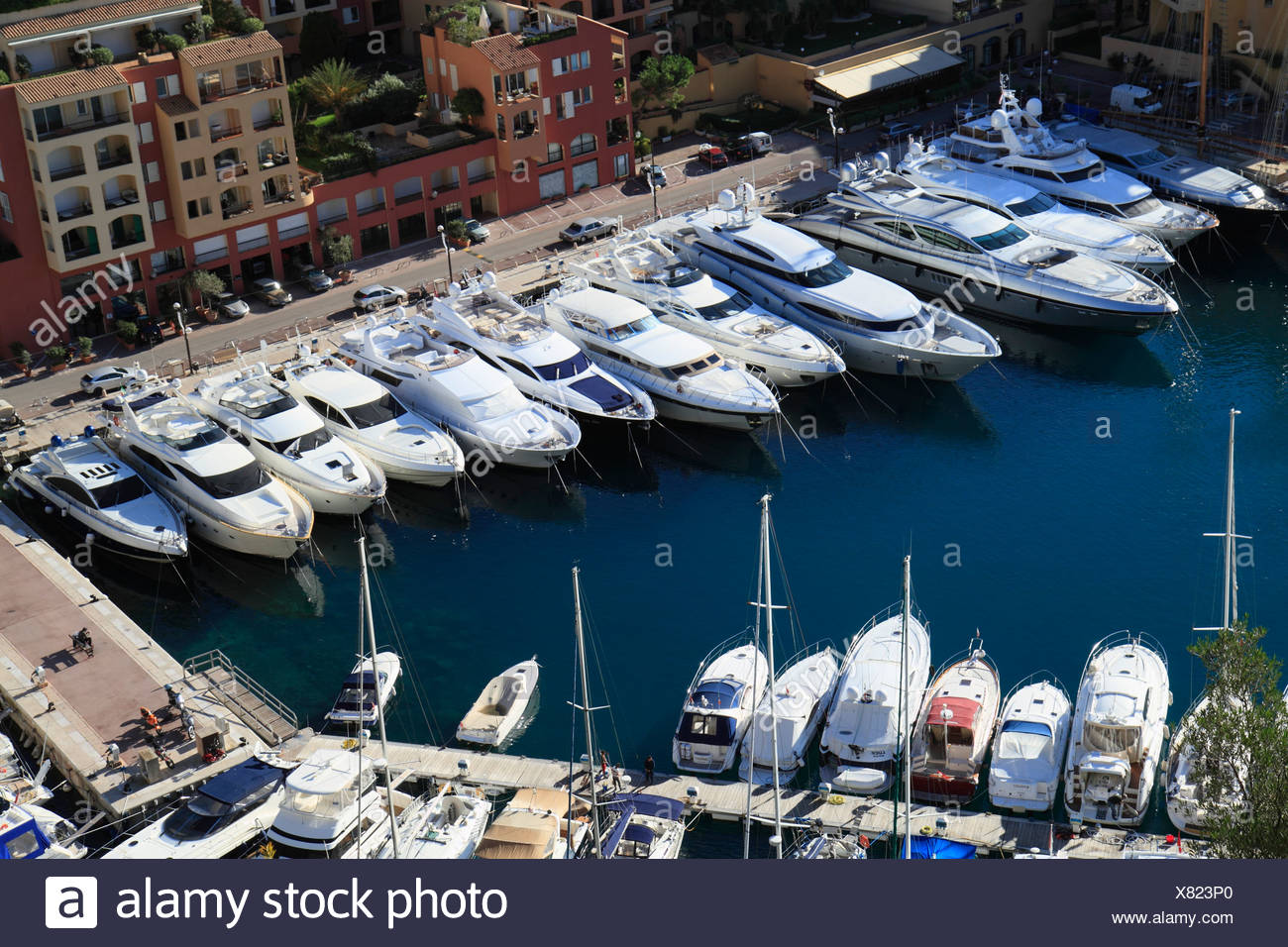 Terrasse Du Port Monaco Port Of Fontvieille With Luxury Yachts Seen From The Terrace In