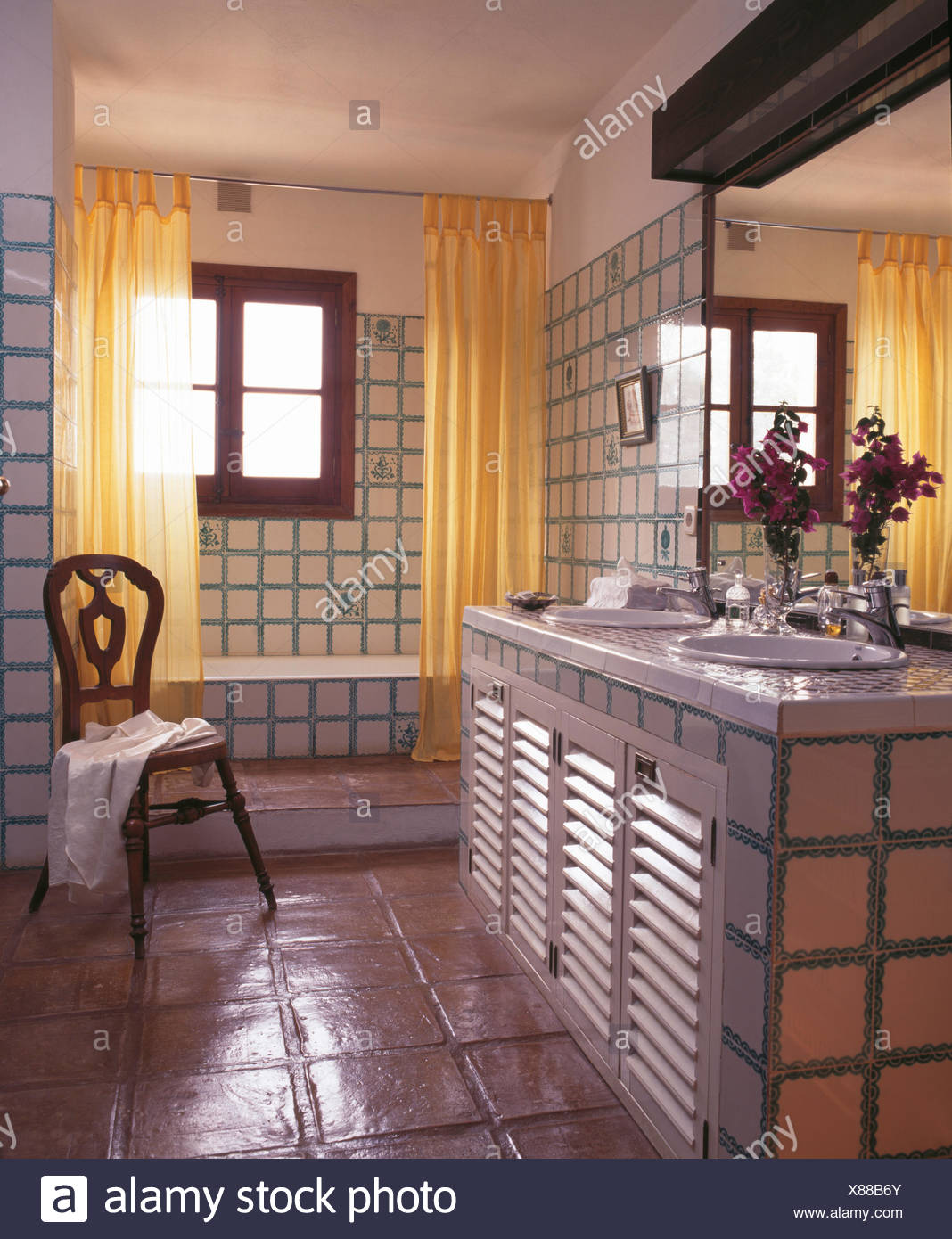 Bathroom In Spanish Yellow Shower Curtains On Bath In Tiled Spanish Country Bathroom