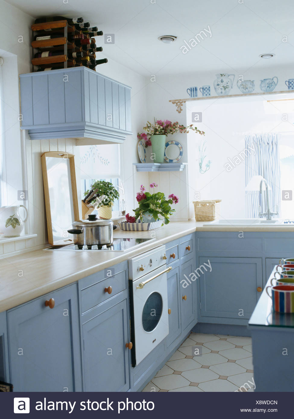 Cottage Küchen White Cottage Kitchen With Pastel Blue Fitted Cupboards And Units