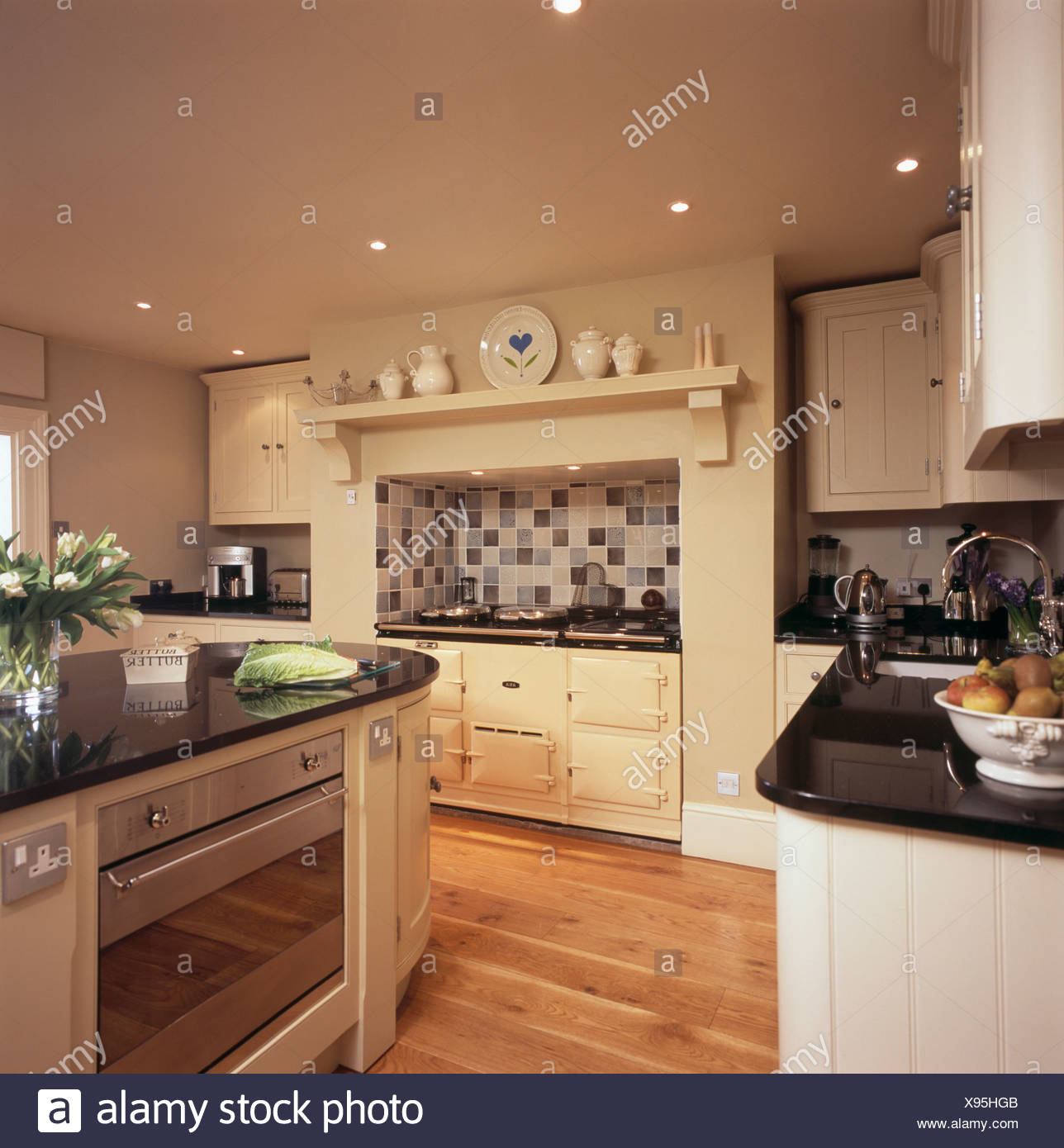 Oven In Island Unit Cream Aga Oven In Country Stock Photos And Cream Aga Oven In