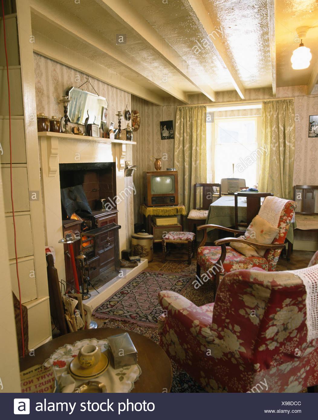 Interiors Traditional Livingroom Fireplace Stock Photos