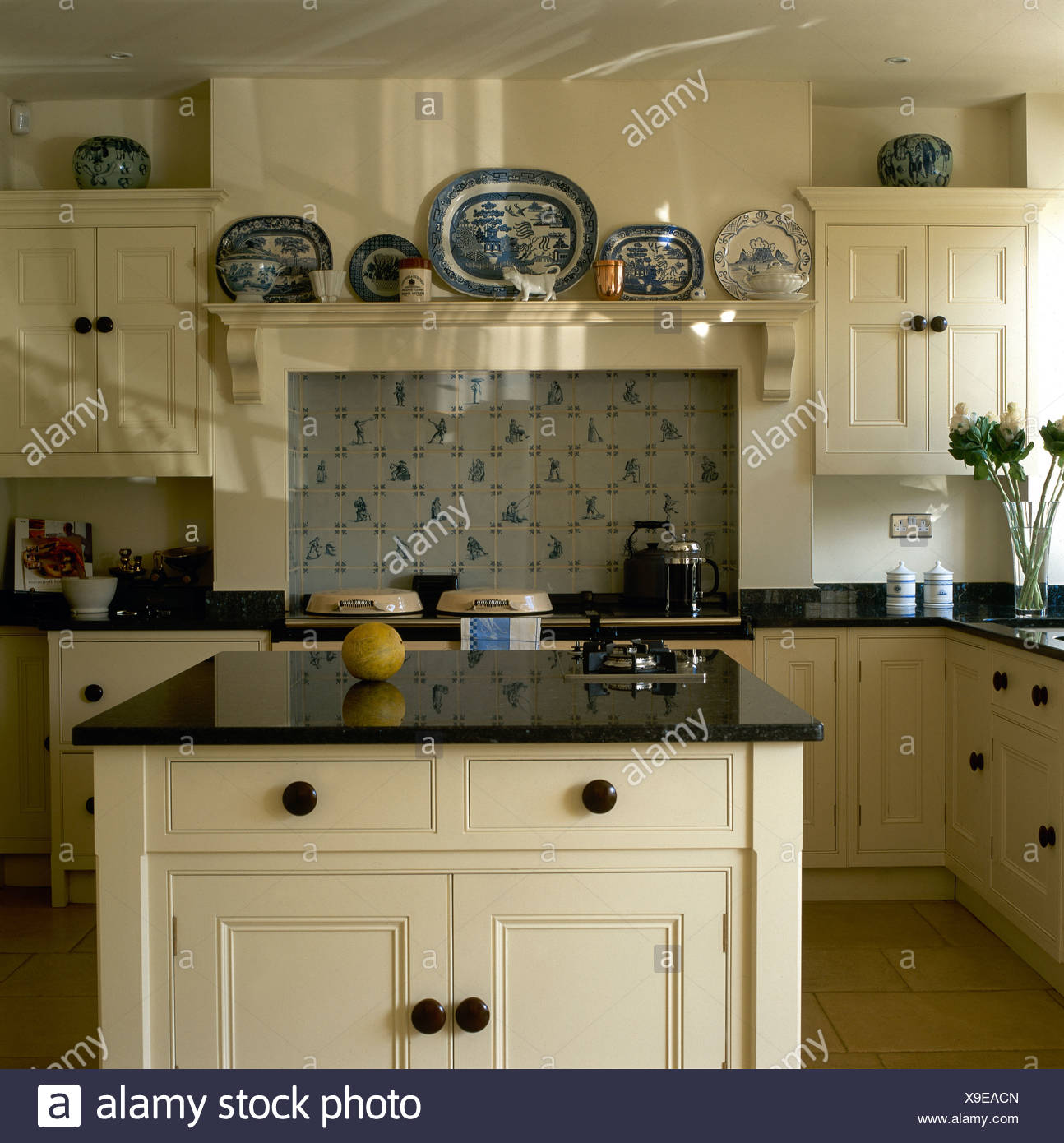 Oven In Island Unit Kitchen Shelving Monochromatic Stock Photos And Kitchen