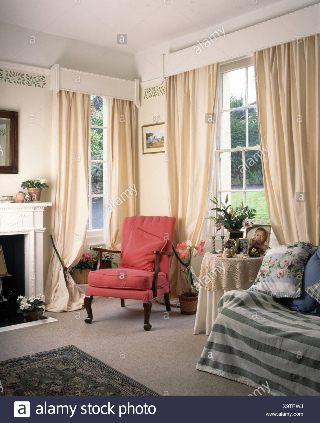 Pink Living Room Curtains Pink Chair Between Windows With Cream Curtains In Nineties Living